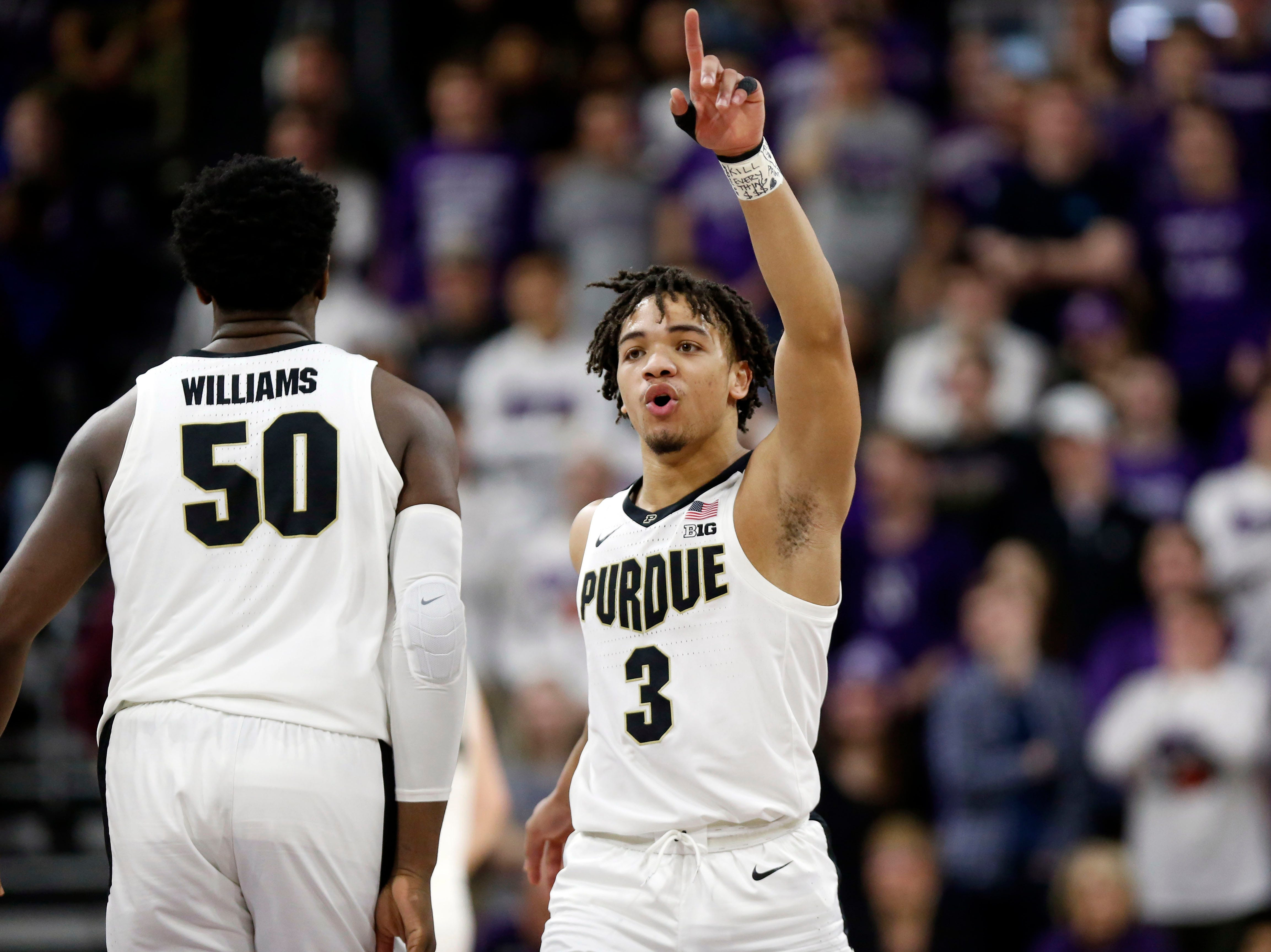 Mar 9, 2019; Evanston, IL, USA; Purdue Boilermakers guard Carsen Edwards (3) reacts on the court during the first half against the Northwestern Wildcats at Welsh-Ryan Arena. Mandatory Credit: Nuccio DiNuzzo-USA TODAY Sports