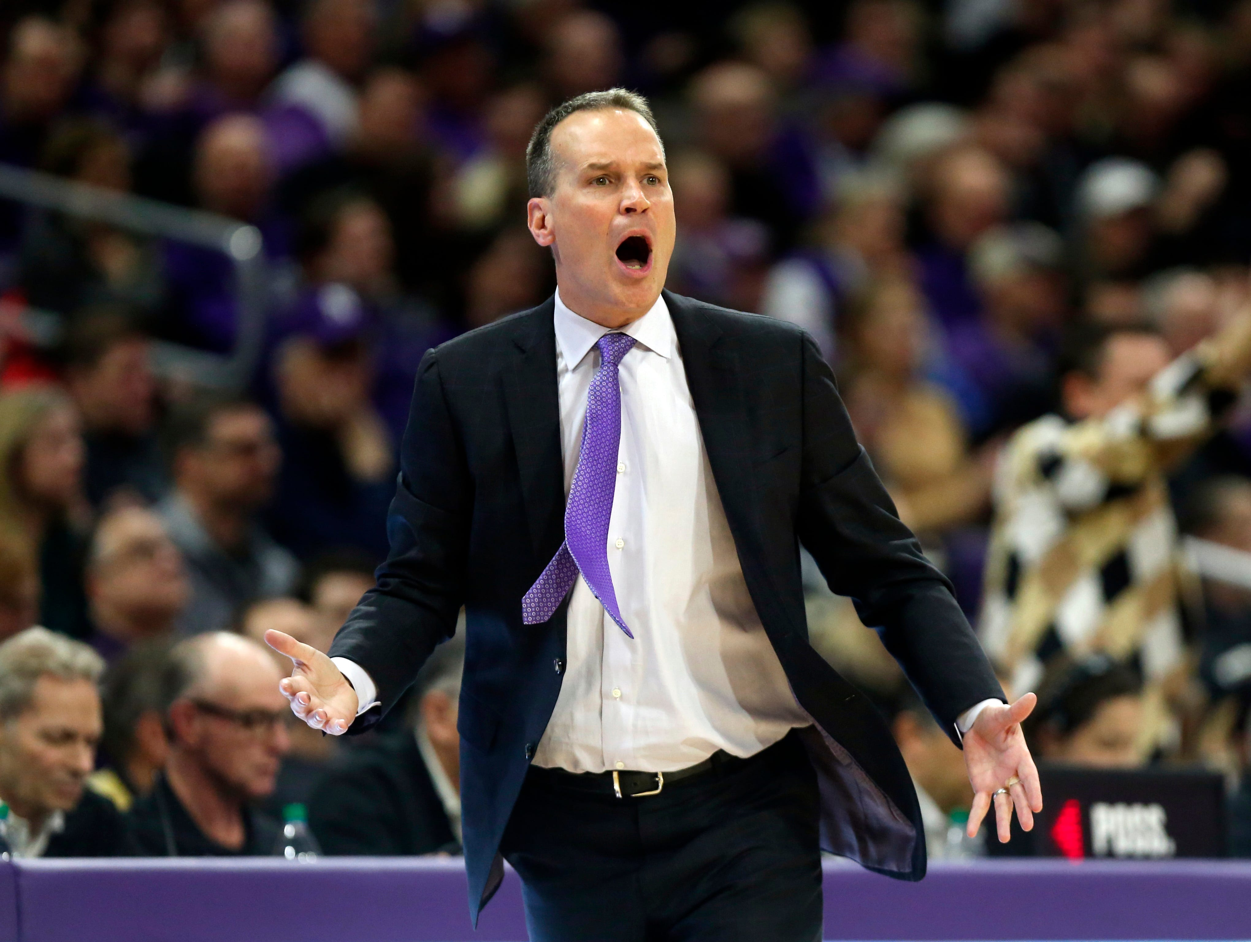 Mar 9, 2019; Evanston, IL, USA; Northwestern Wildcats head coach Chris Collins reacts during the first half against the Purdue Boilermakers at Welsh-Ryan Arena. Mandatory Credit: Nuccio DiNuzzo-USA TODAY Sports