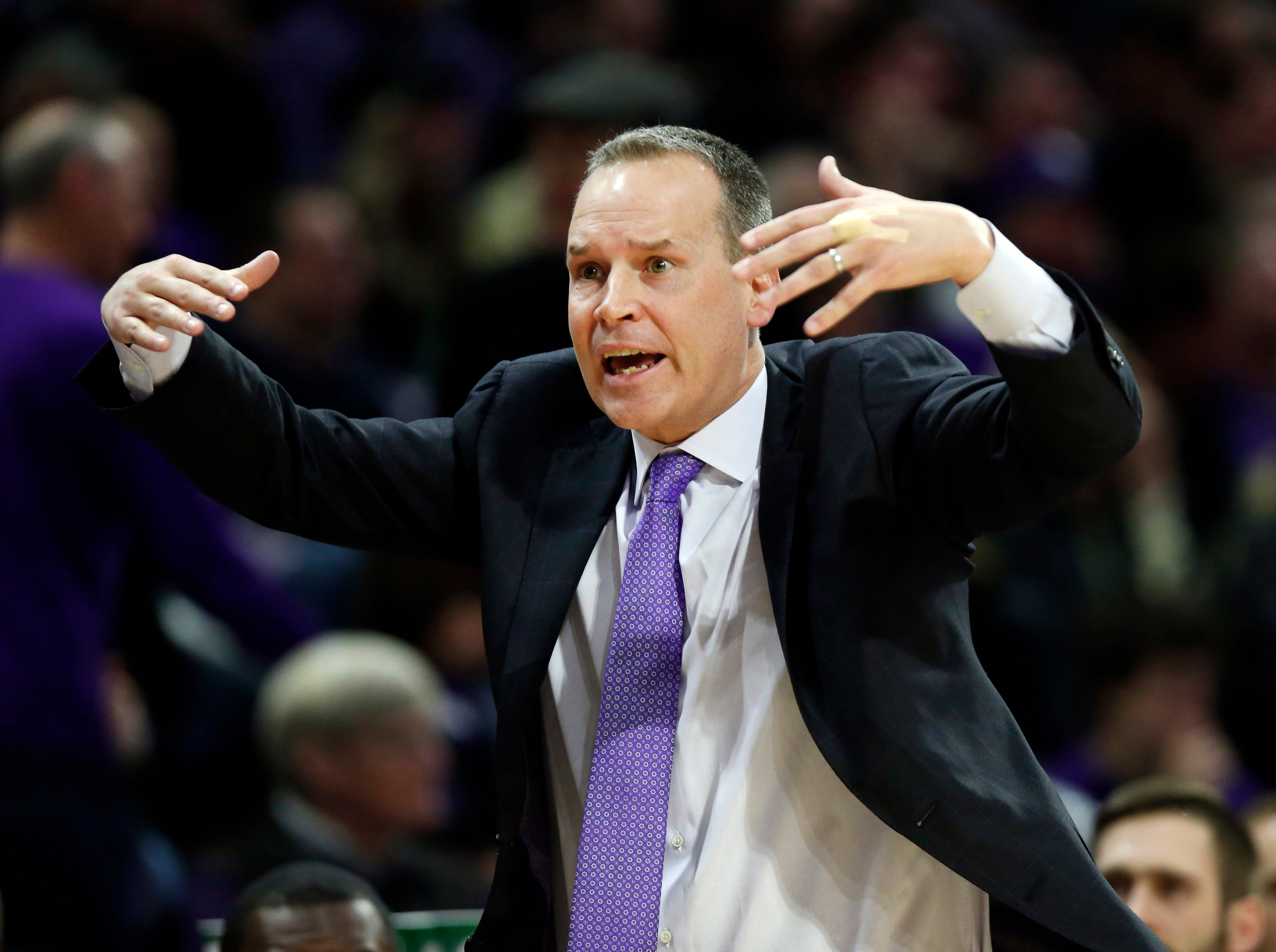 Mar 9, 2019; Evanston, IL, USA; Northwestern Wildcats head coach Chris Collins during the first half of his team's game against the Purdue Boilermakers at Welsh-Ryan Arena. Mandatory Credit: Nuccio DiNuzzo-USA TODAY Sports