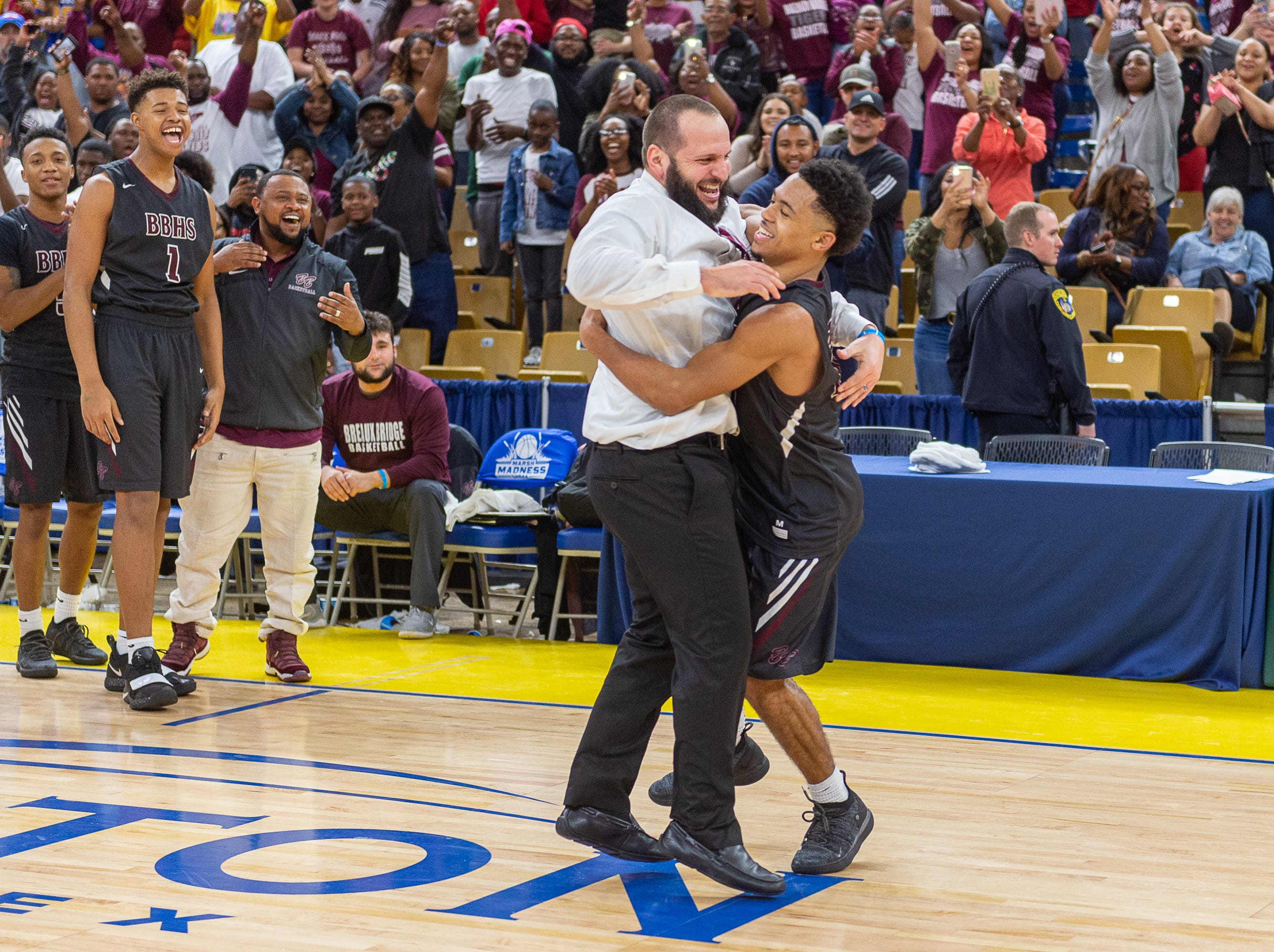 Seth Alexander named outstanding player of the game as Breaux Bridge beats Bossier 61-58 to win the Allstate Sugar Bowl/LHSAA Boys' Marsh Madness State Championship. Friday, March 8, 2019.