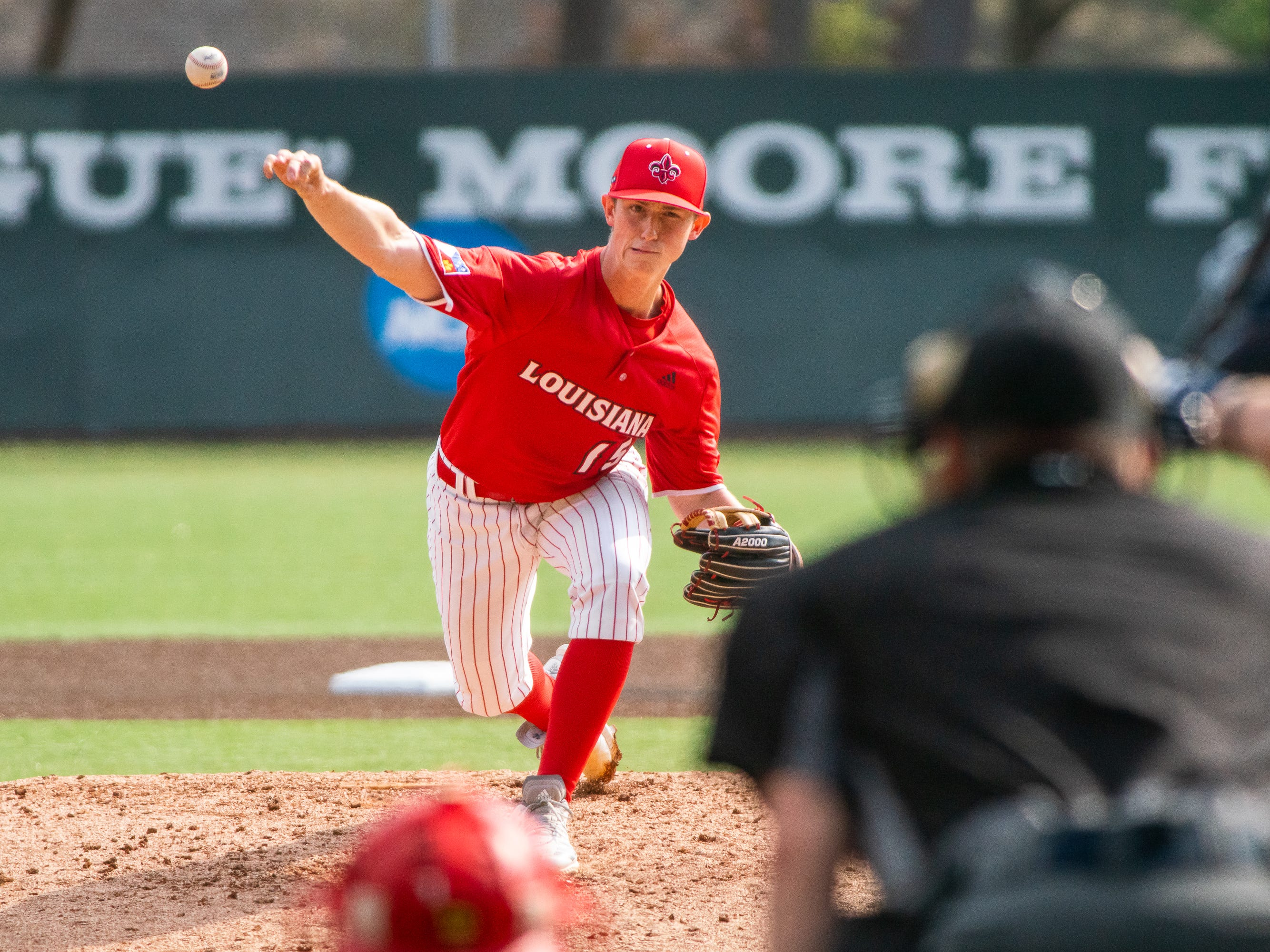 UL's Jacob Shultz throws a pitch as the Ragin' Cajuns take on the Loyola-Marymount Lions at M.L. Tigue Moore Field on Saturday, March 9, 2019.