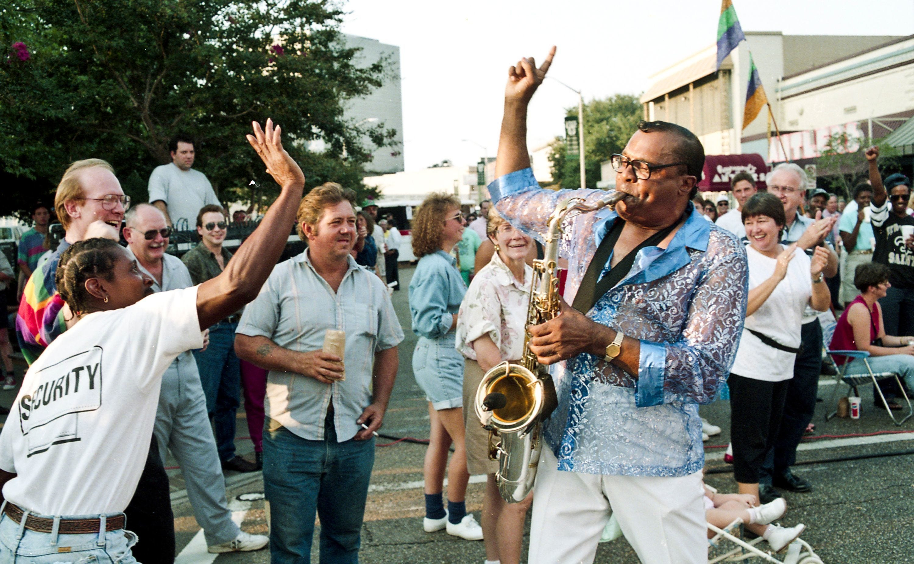 Musicians and fans dance on Jefferson Street during Downtown Alive! in 1993. File photo by Brad Kemp.