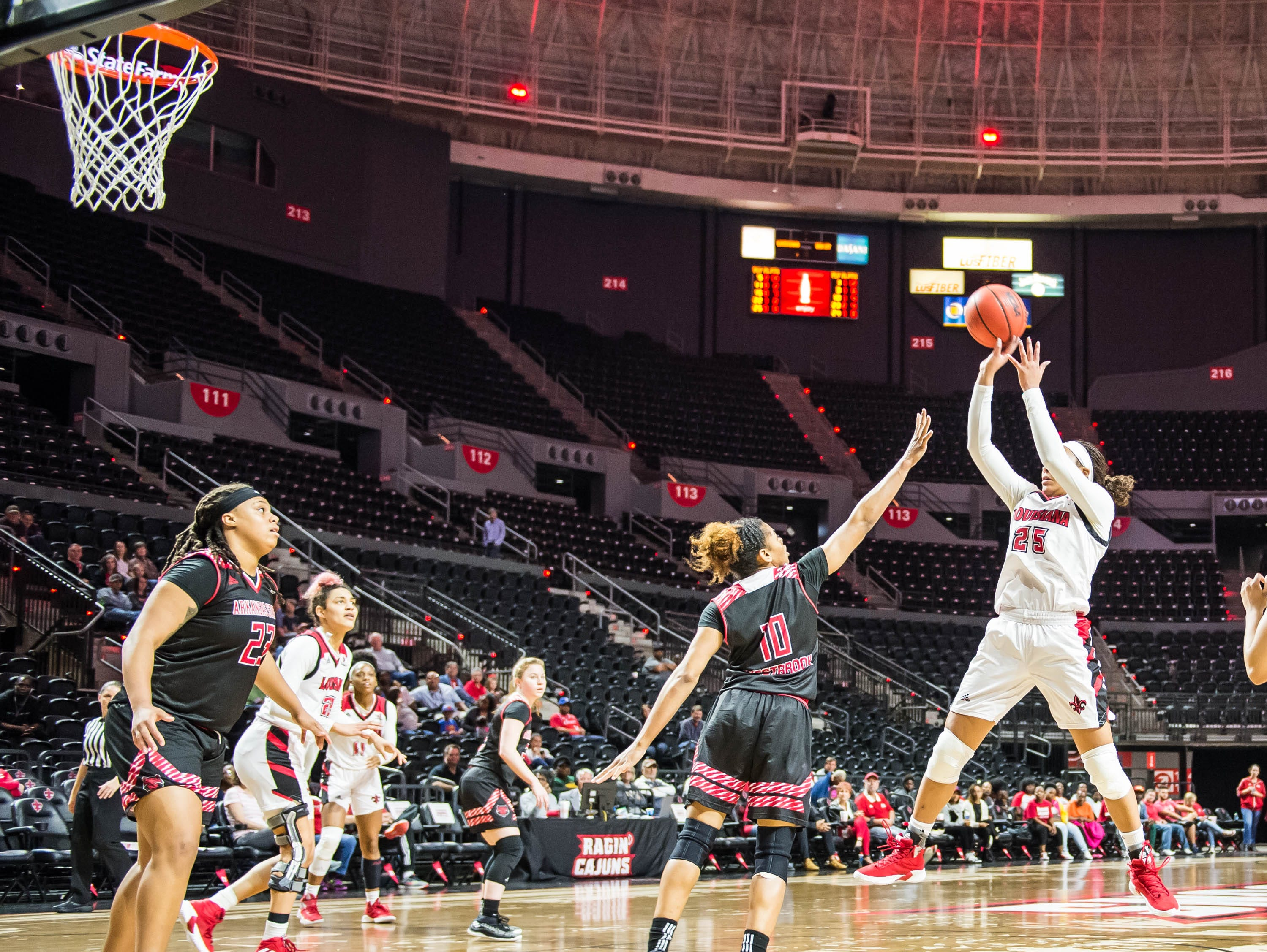 Jazmyn Womack (25) with the 10-foot jump shot as the Cajuns women's basketball team plays the Arkansas State Red Wolves at the Cajundome on Saturday, March 9, 2019.