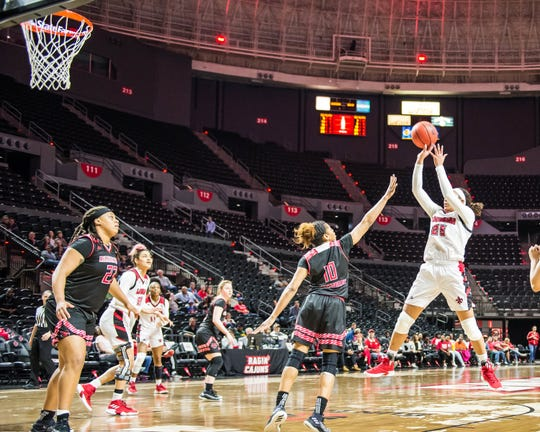 Jazmyn Womack (25) puts up a 10-foot jump shot, as the Cajuns play Arkansas State on Saturday at the Cajundome.