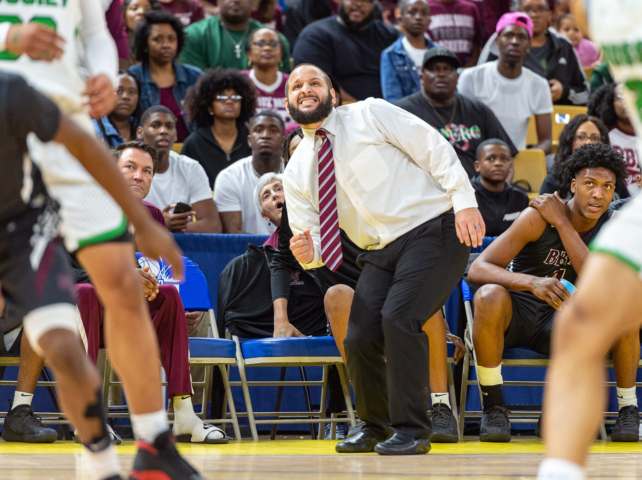 Head Coach Chad Pourciau II on the bench as Breaux Bridge takes on Bossier in the Allstate Sugar Bowl/LHSAA Boys' Marsh Madness State Championship. Friday, March 8, 2019.