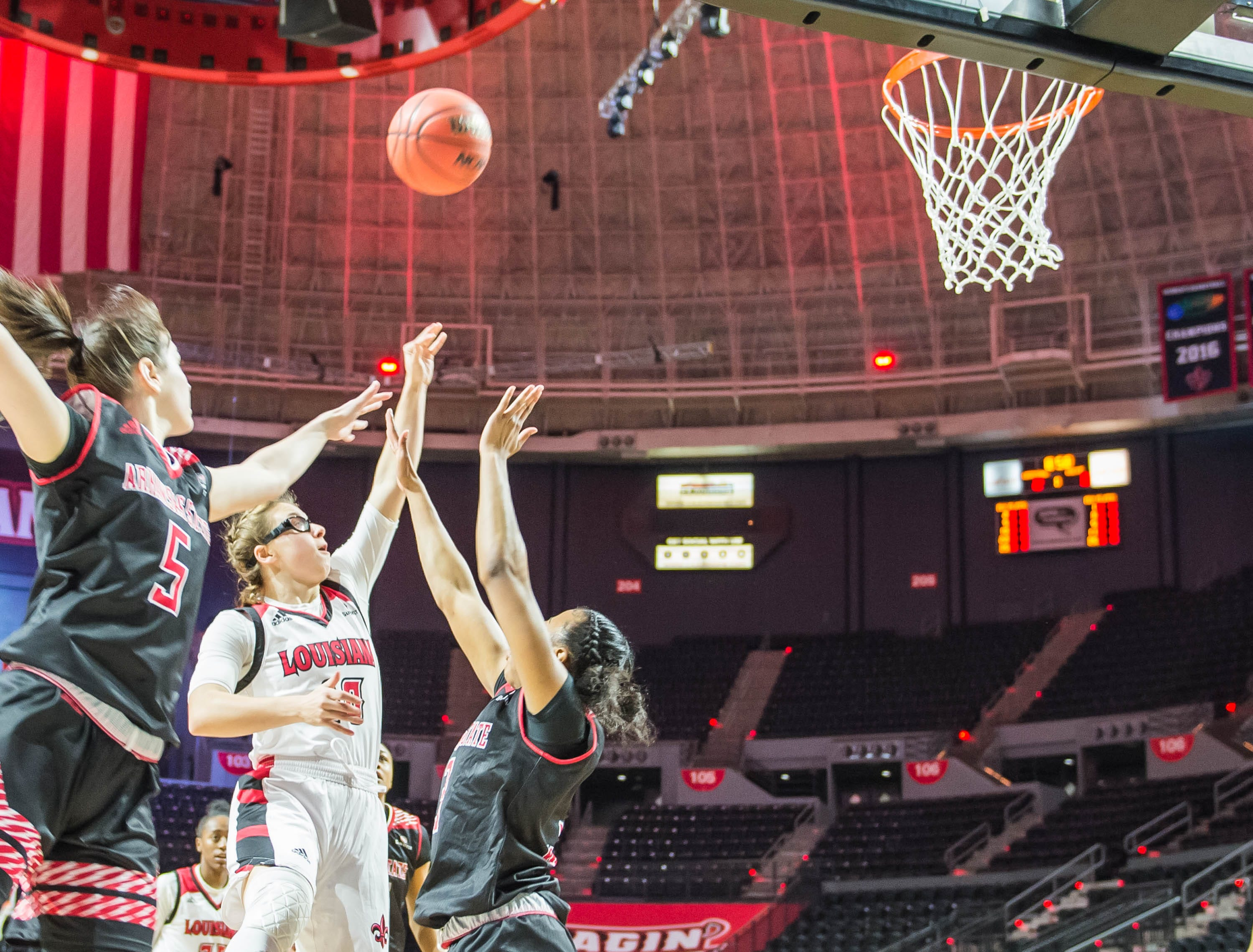 Ragin' Cajuns guard Andrea Cournoyer (10) with the jumper as the Cajuns women's basketball team plays the Arkansas State Red Wolves at the Cajundome on Saturday, March 9, 2019.