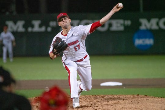 UL's Gunner Leger pitches in a win over Loyola Marymount earlier this month.