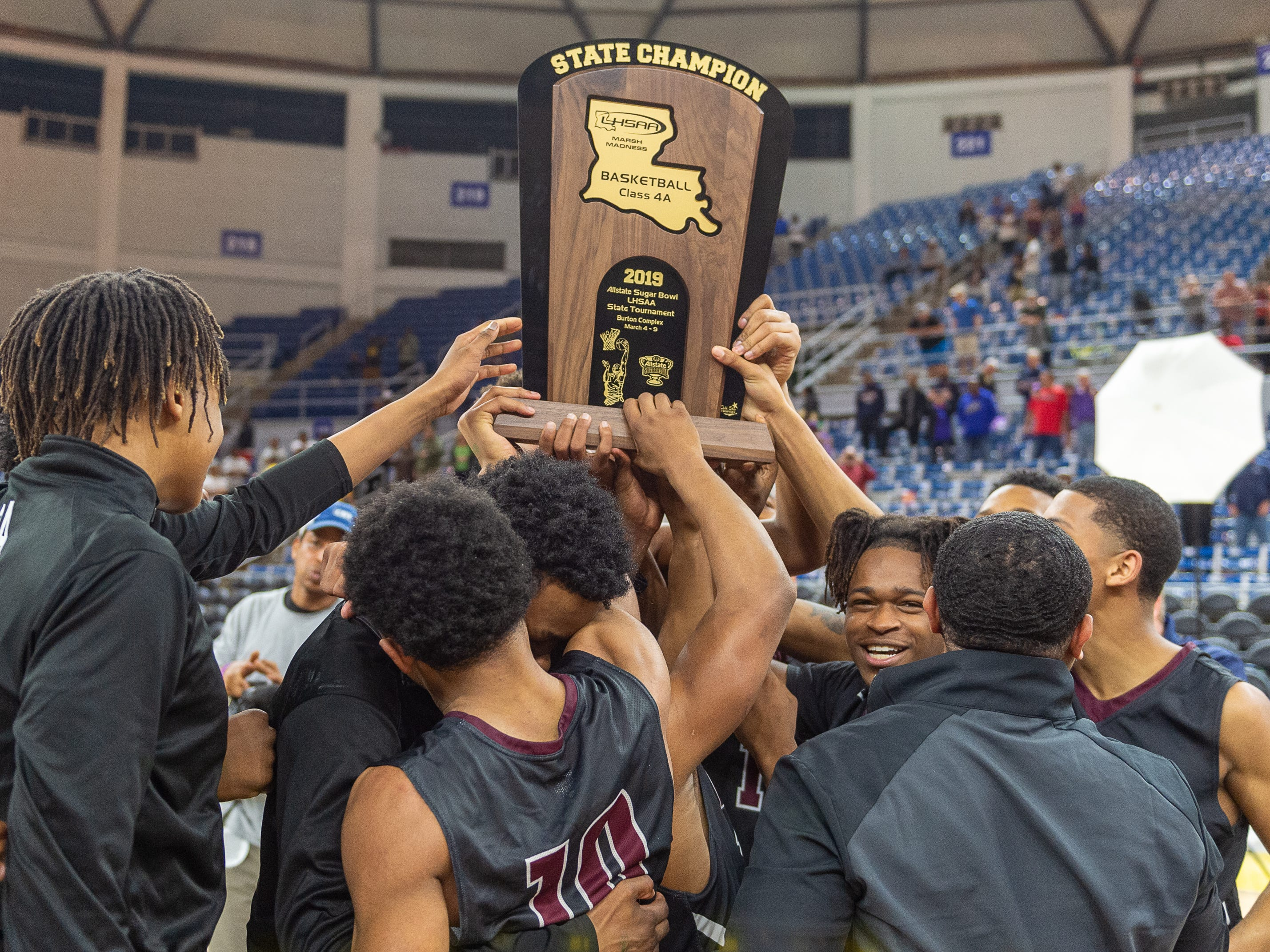 Breaux Bridge beats Bossier 61-58 to win the Allstate Sugar Bowl/LHSAA Boys' Marsh Madness State Championship. Friday, March 8, 2019.