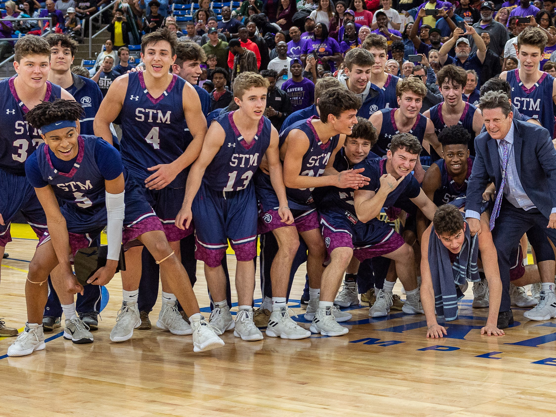 The STM Cougars beat DeLaSalle in double overtime to win the Allstate Sugar Bowl/LHSAA Boys' Marsh Madness Div II State Championship. Saturday, March 9, 2019.
