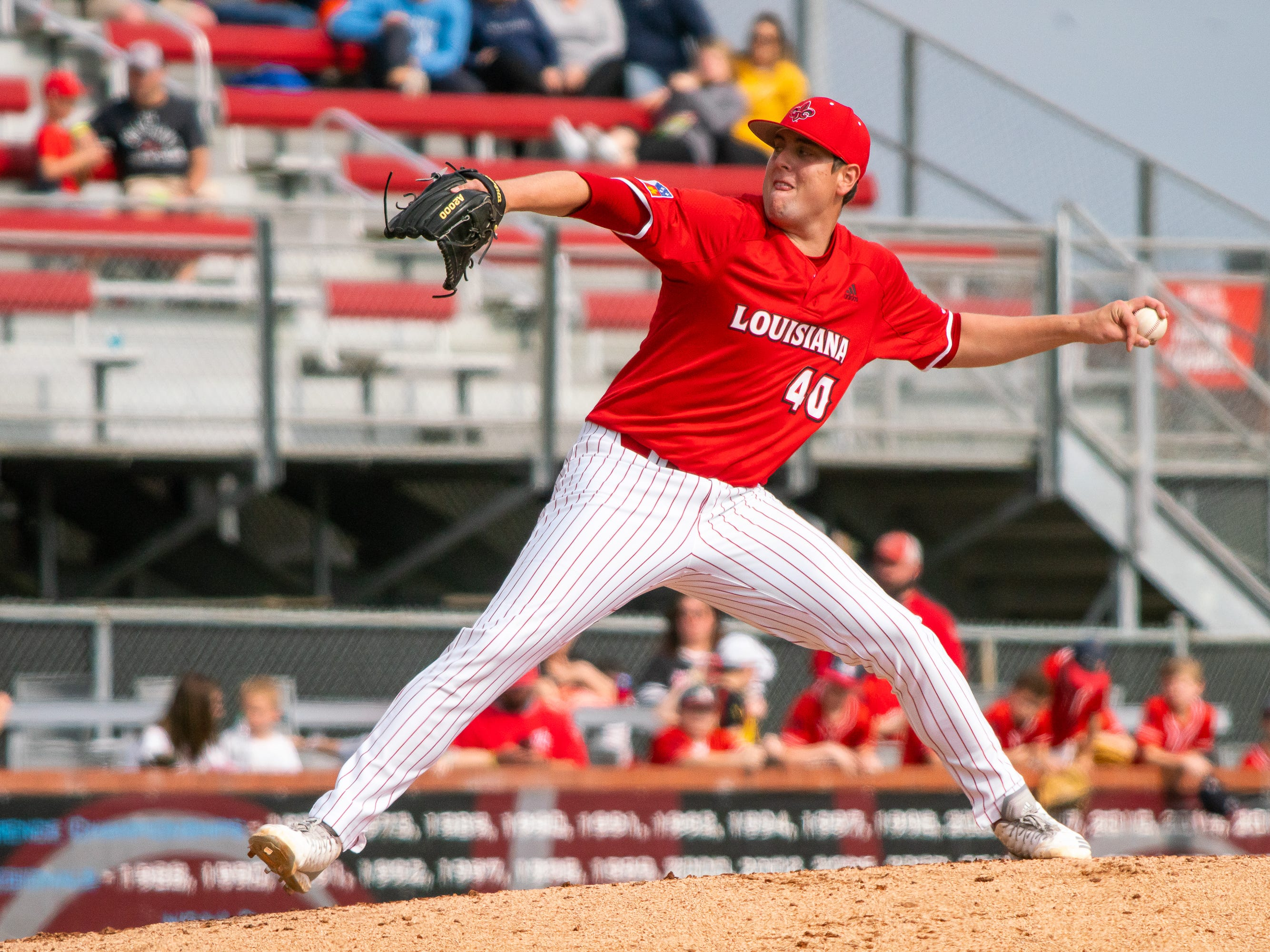UL's Dalton Horton throws a pitch to the batter as the Ragin' Cajuns take on the Loyola-Marymount Lions at M.L. Tigue Moore Field on Saturday, March 9, 2019.