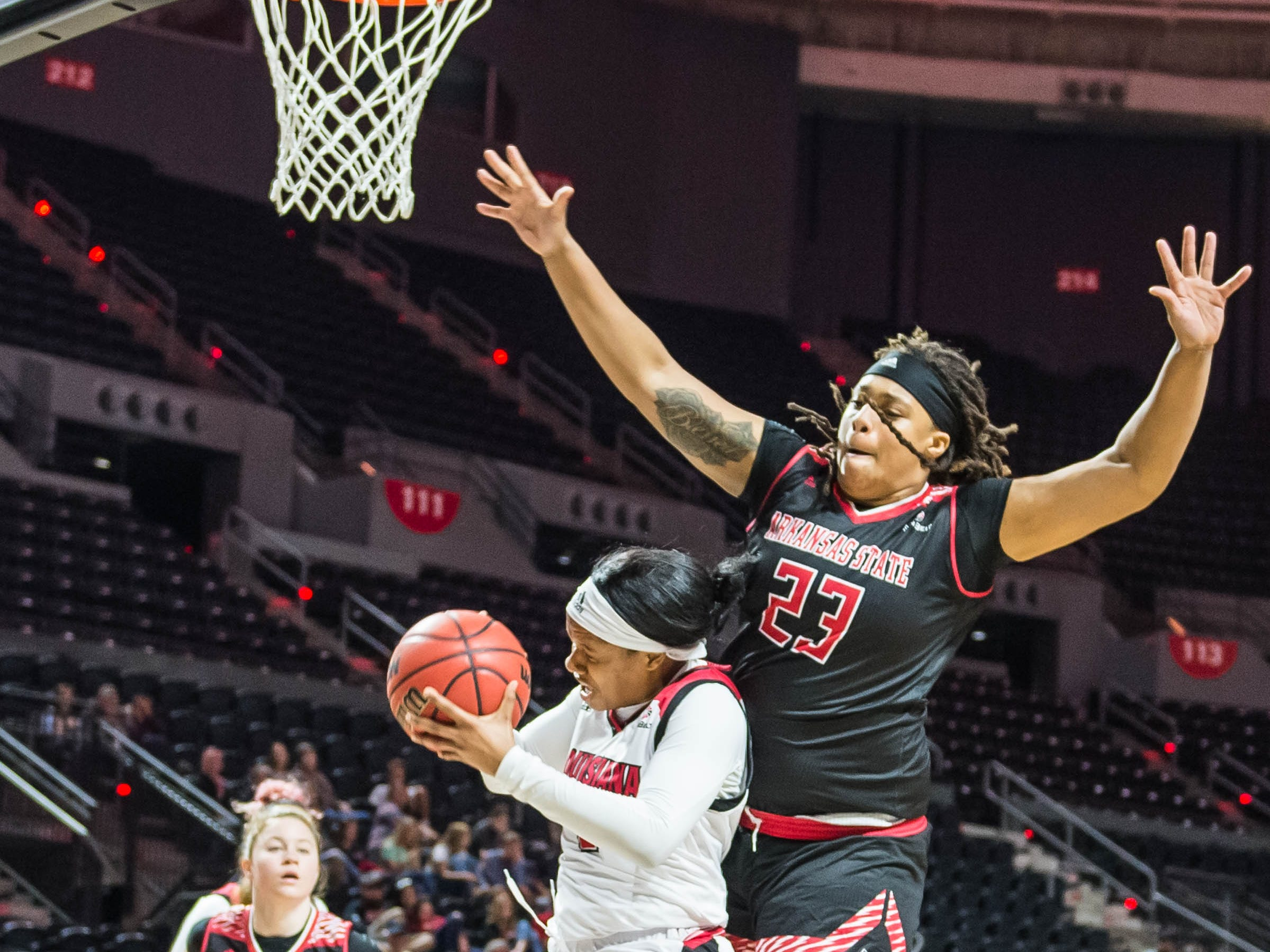 The Ragin Cajuns women's basketball team play the Arkansas Red Wolves at the Cajundome on Saturday March 9, 2019.