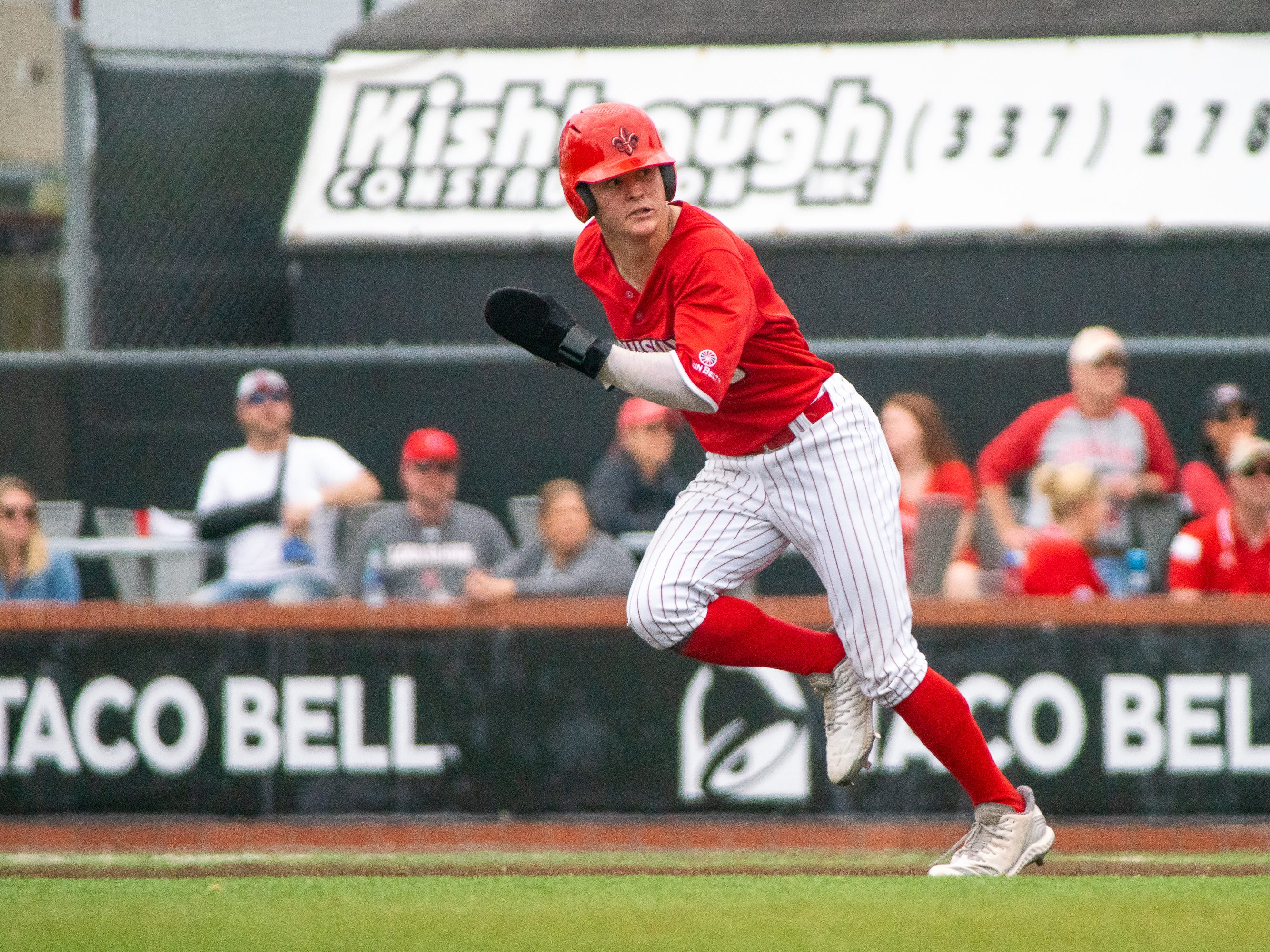 UL's Hayden Cantrelle attempts to steal second base as the Ragin' Cajuns take on the Loyola-Marymount Lions at M.L. Tigue Moore Field on Saturday, March 9, 2019.