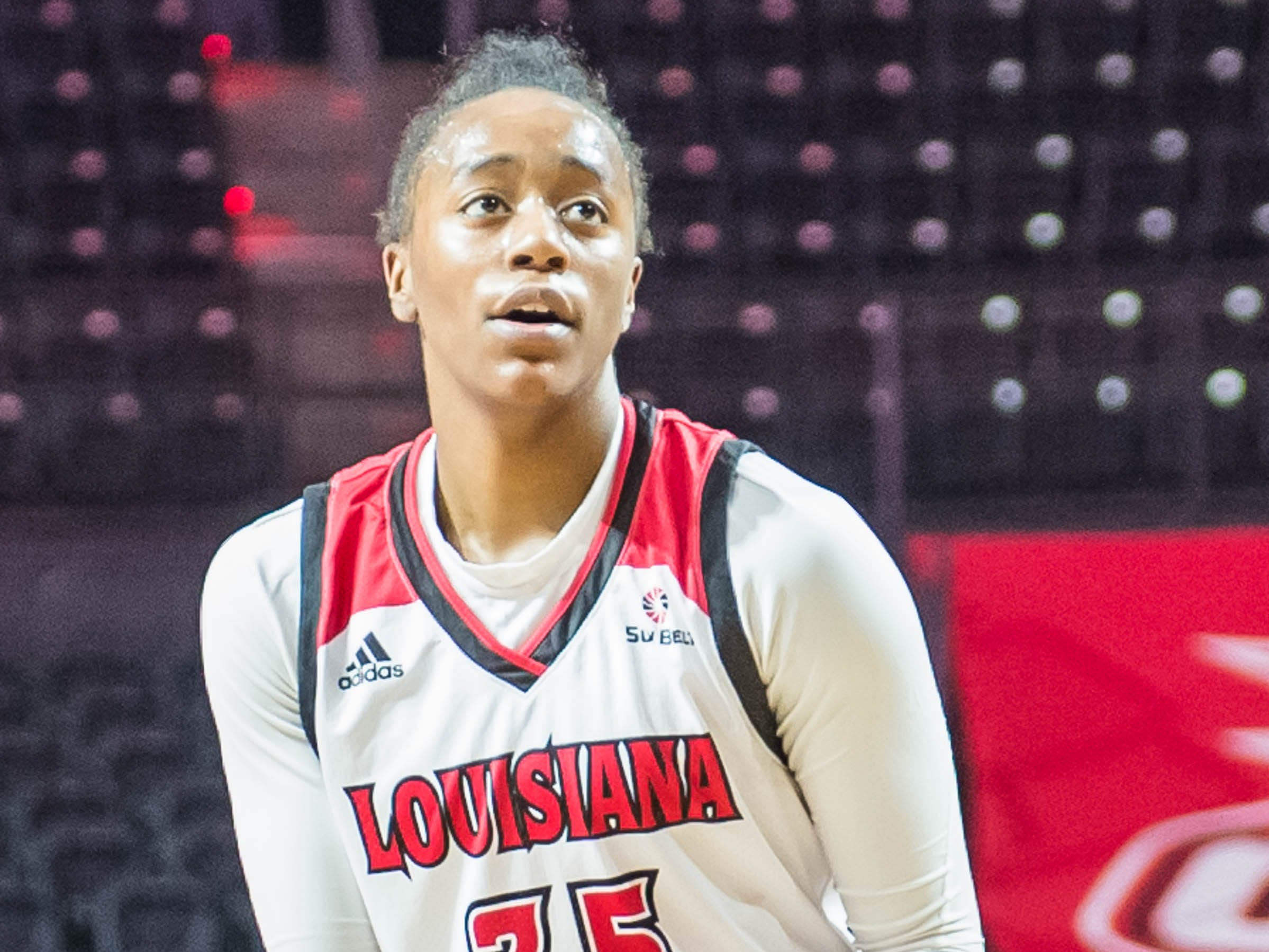 Cajuns center Ty'Reona Doucet with the free throw as the Cajuns women's basketball team plays the Arkansas State Red Wolves at the Cajundome on Saturday, March 9, 2019.