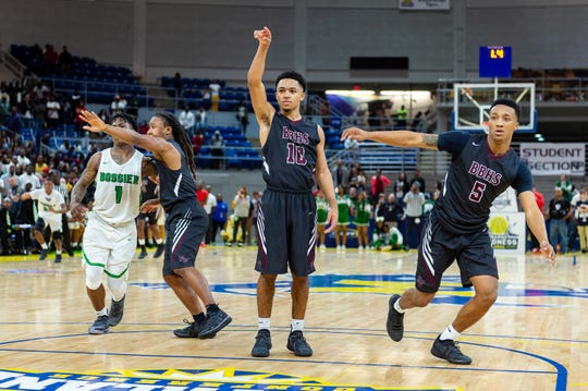 Seth Alexander makes a free throw to give the lead in the final seconds as Breaux Bridge beats Bossier 61-58 to win the Allstate Sugar Bowl/LHSAA Boys' Marsh Madness State Championship. Friday, March 8, 2019.