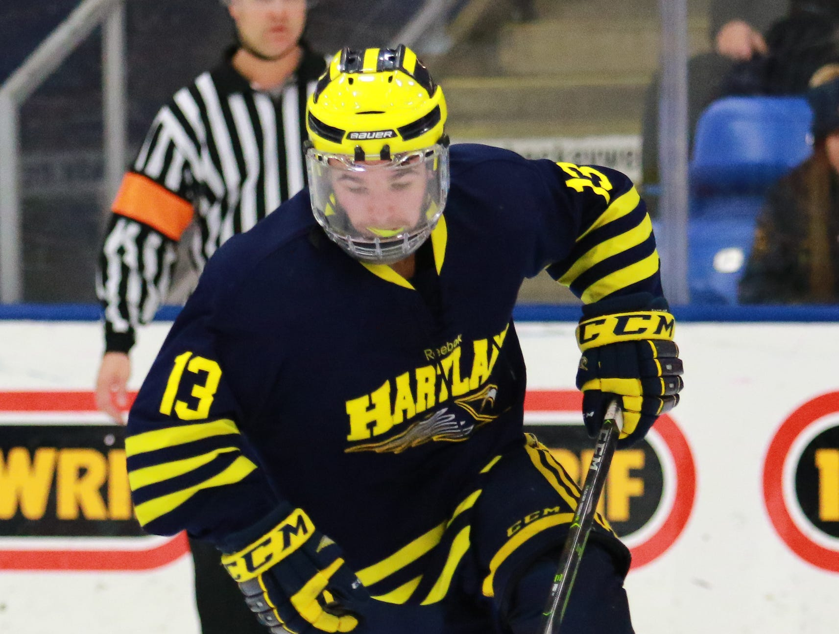 Hartland's Dakota Kott skates with the puck in a 4-0 victory over Trenton in the state Division 2 championship hockey game on Saturday, March 9, 2019 at USA Hockey Arena.