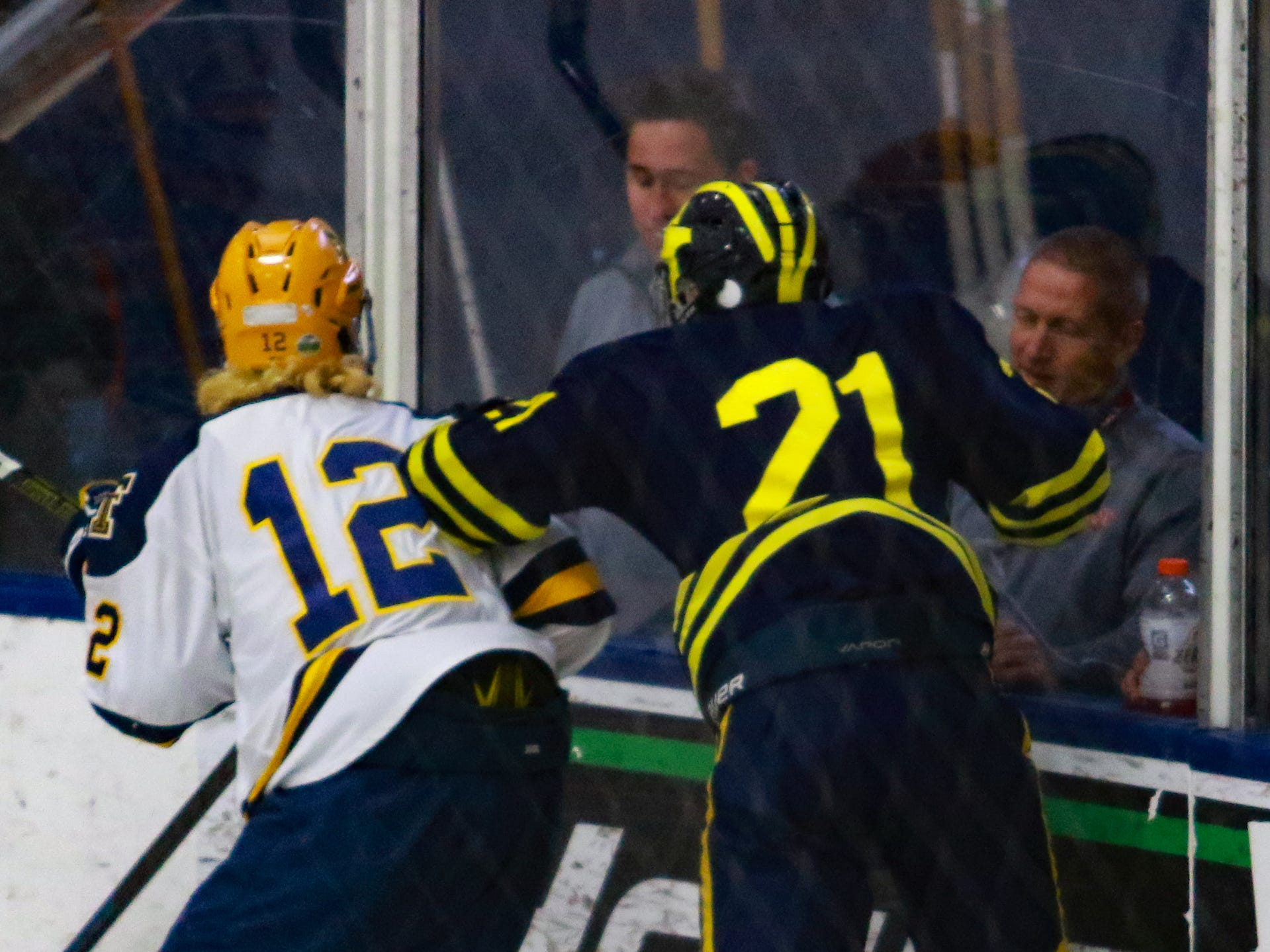 Hartland's Trent Krause (21) checks Ryan Stanley in a 4-0 victory over Trenton in the state Division 2 championship hockey game on Saturday, March 9, 2019 at USA Hockey Arena.