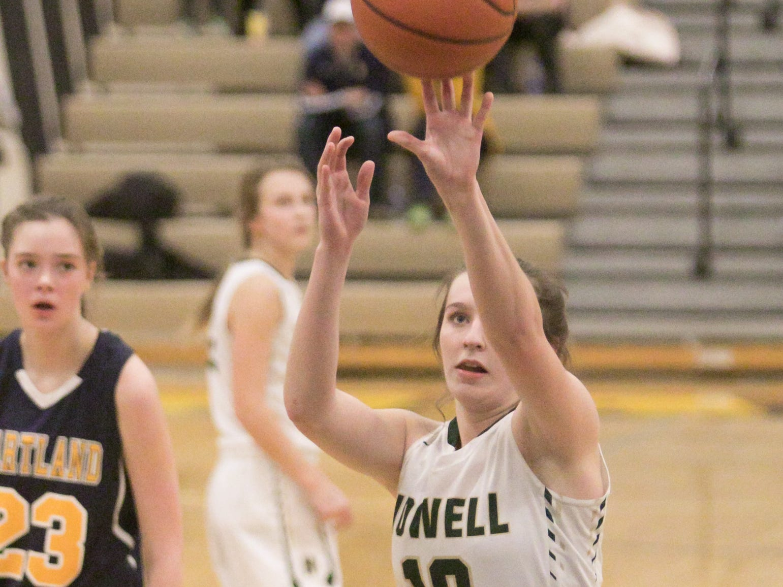Howell Highlander Kaylee Wendell shoots a free throw in the fourth quarter of the district championship game against Hartland Friday, March 8, 2019.