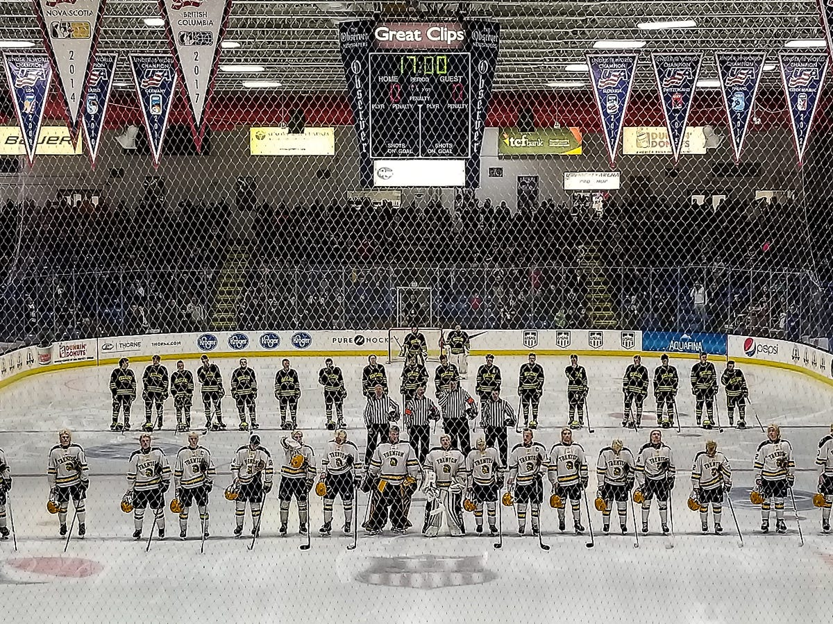 Trenton (foreground) and Hartland hockey players line up for the national them before the state Division 2 championship game on Saturday, March 9, 2019 at USA Hockey Arena.
