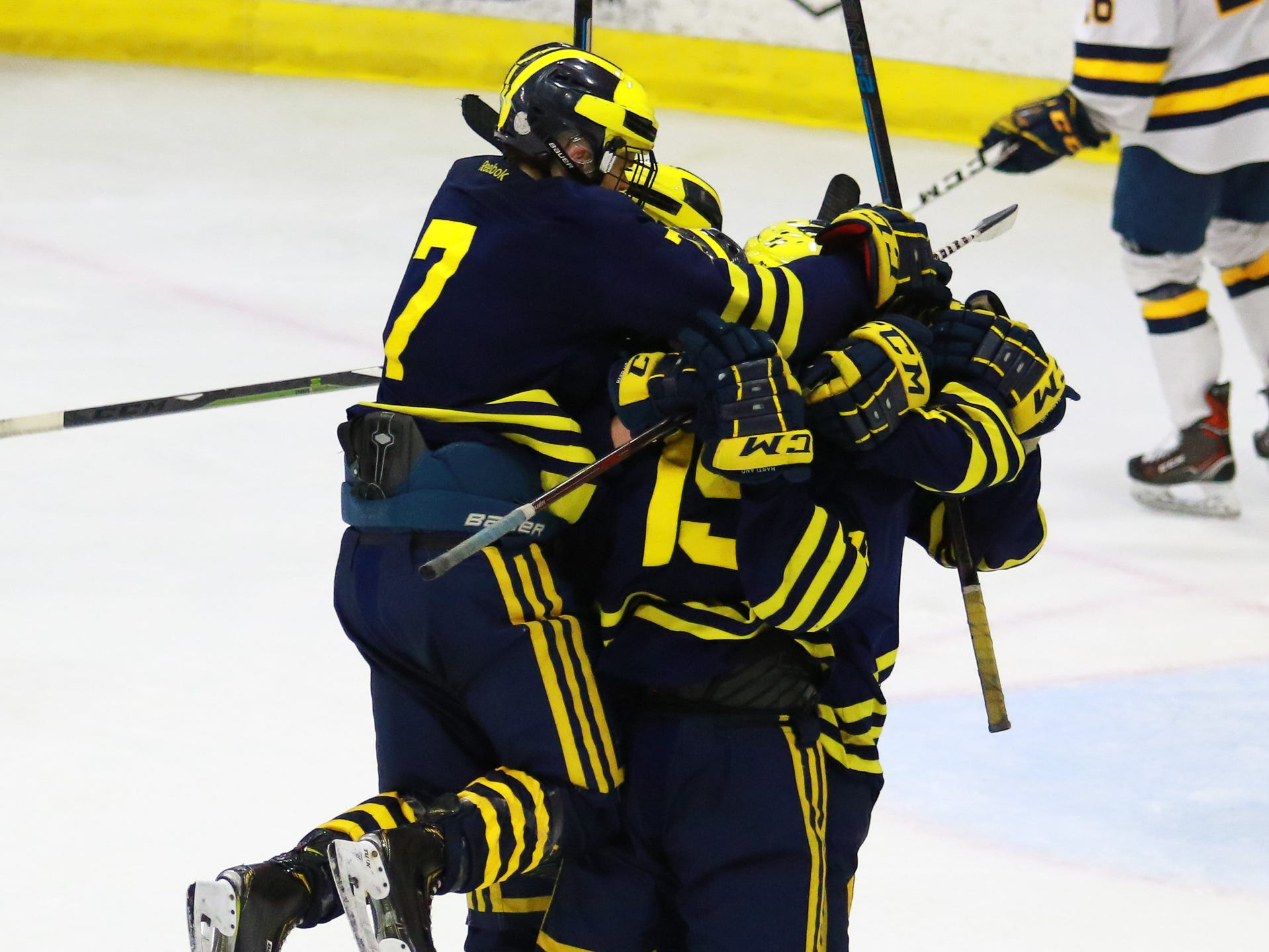 Hartland celebrates its final goal in a 4-0 victory over Trenton in the state Division 2 championship hockey game on Saturday, March 9, 2019 at USA Hockey Arena.