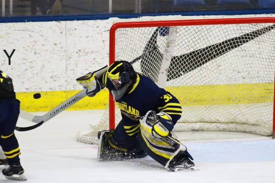 Hartland goalie Brett Tome makes one of his 13 saves in a 4-0 shutout of Trenton in the state Division 2 championship game on Saturday, March 9, 2019 at USA Hockey Arena.
