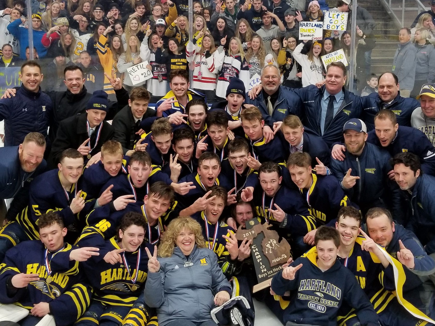 The Hartland Eagles are the 2019 Division 2 MHSAA Hockey Champions after a 4-0 victory over Trenton Saturday March 9 2019 at USA Hockey Arena in Plymouth.
