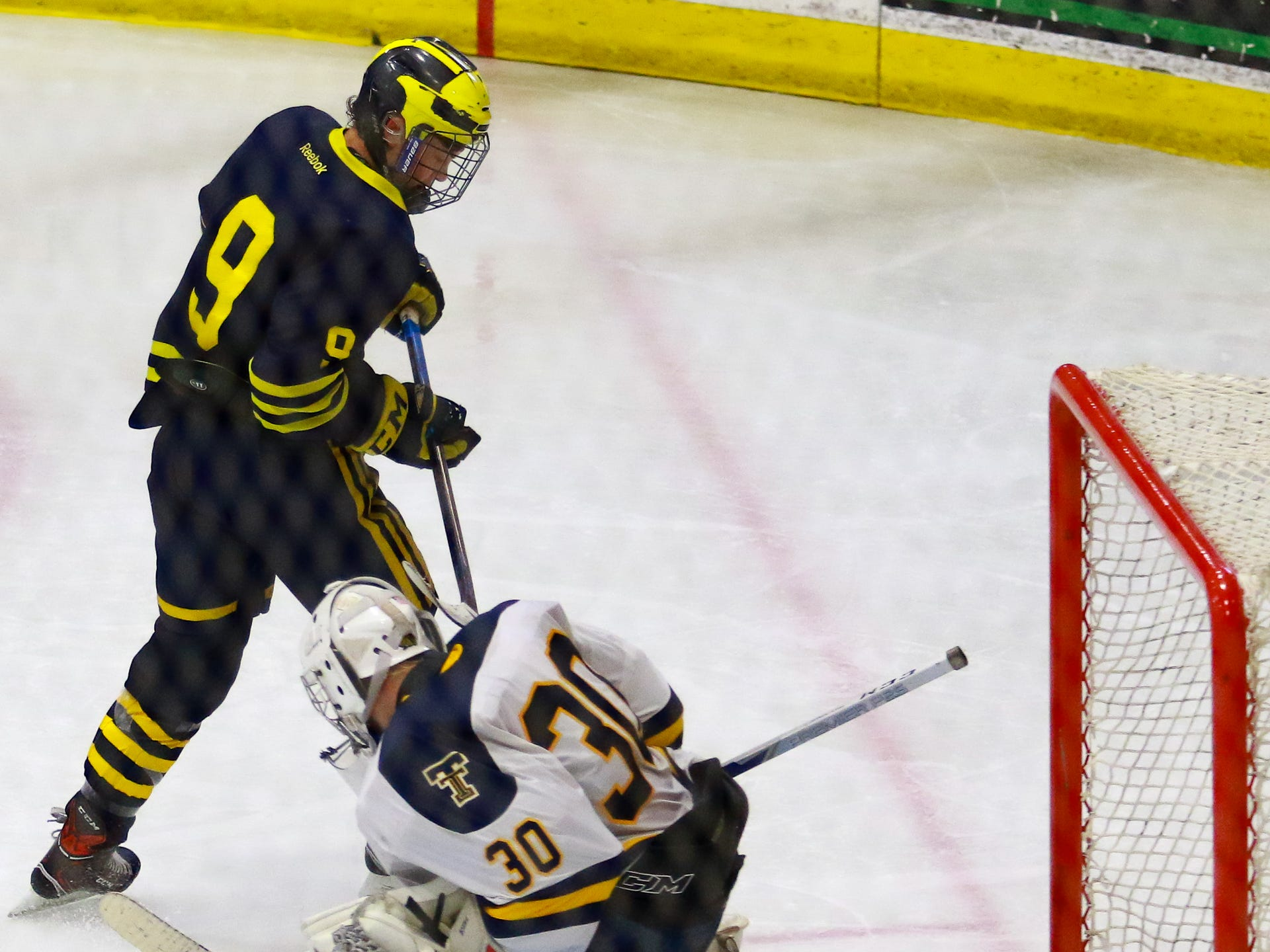 Hartland's Joey Larson narrowly misses a goal against goalie Joey Cormier in a 4-0 victory over Trenton in the state Division 2 championship hockey game on Saturday, March 9, 2019 at USA Hockey Arena.