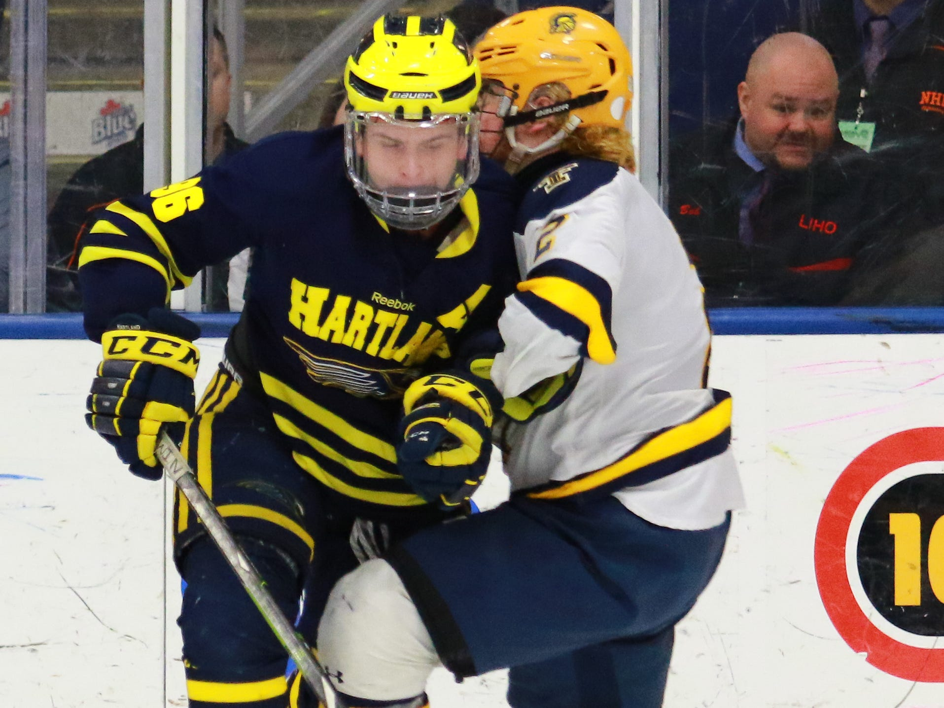 Hartland's Owen Pietila moves the puck while defended by Logan Styles in a 4-0 victory over Trenton in the state Division 2 championship hockey game on Saturday, March 9, 2019 at USA Hockey Arena.