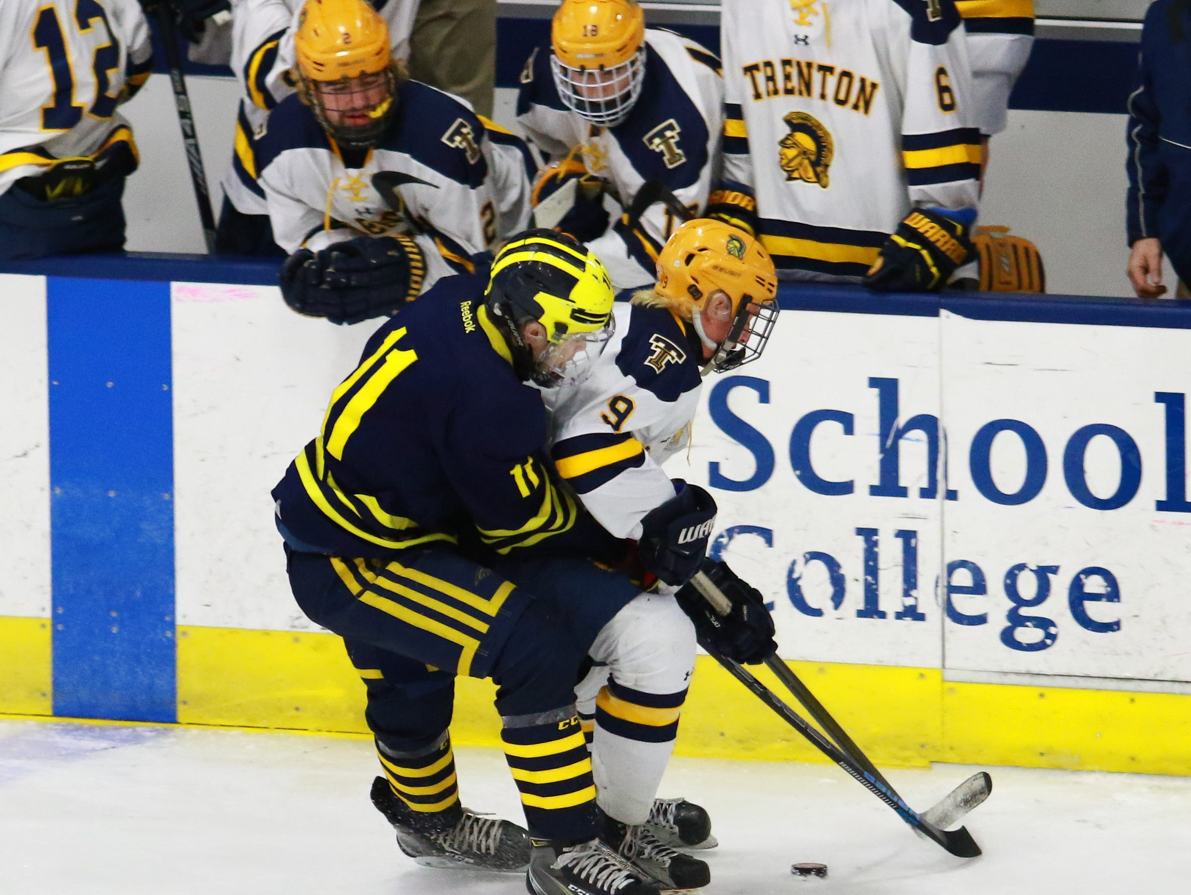 Hartland's Gabe Anderson battles with Caleb Kneiding (9) in a 4-0 victory over Trenton in the state Division 2 championship hockey game on Saturday, March 9, 2019 at USA Hockey Arena.