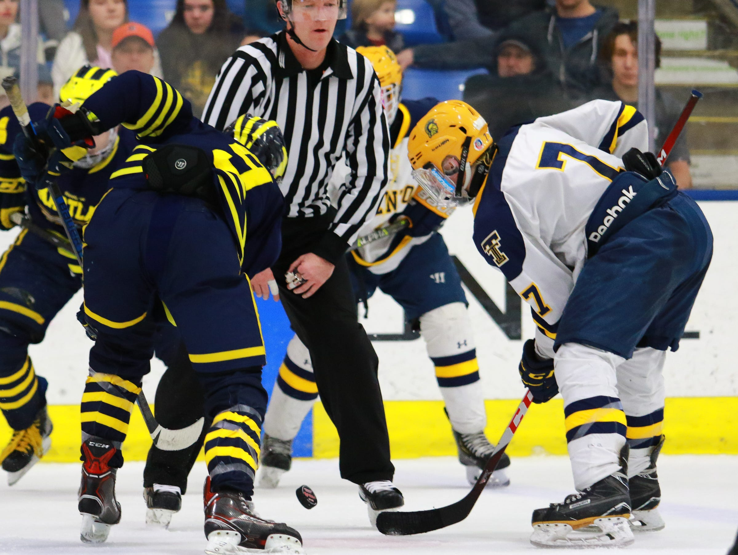 Hartland's Joey Larson (9) faces off against Gregory Obrycki (7) in a 4-0 victory over Trenton in the state Division 2 championship hockey game on Saturday, March 9, 2019 at USA Hockey Arena.