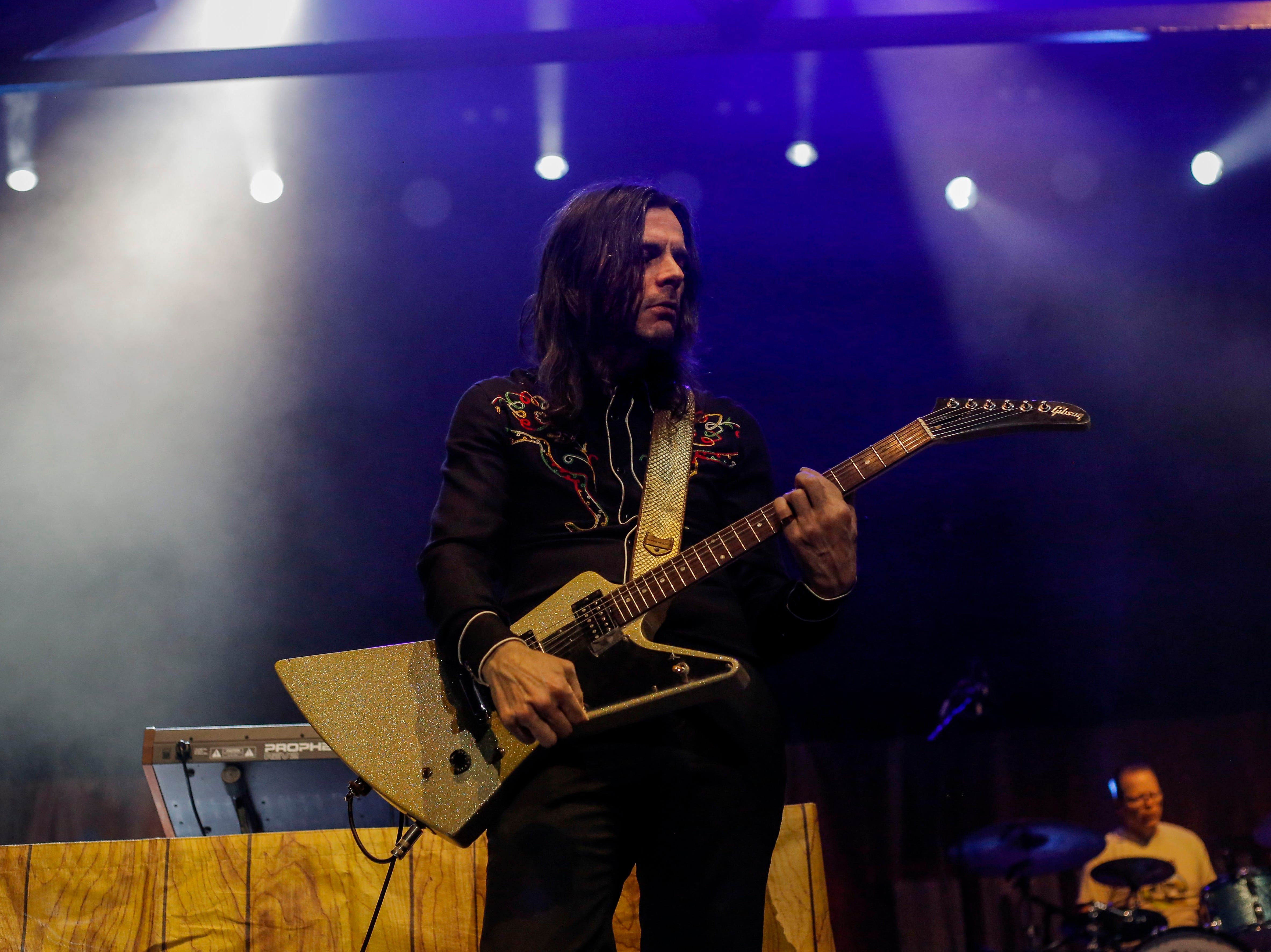 Brian Bell, guitarist in Weezer, performs during the first show of the Weezer x Pixies 2019 tour at the KFC Yum! Center in downtown Louisville, Ky. on Friday, March 8, 2019.