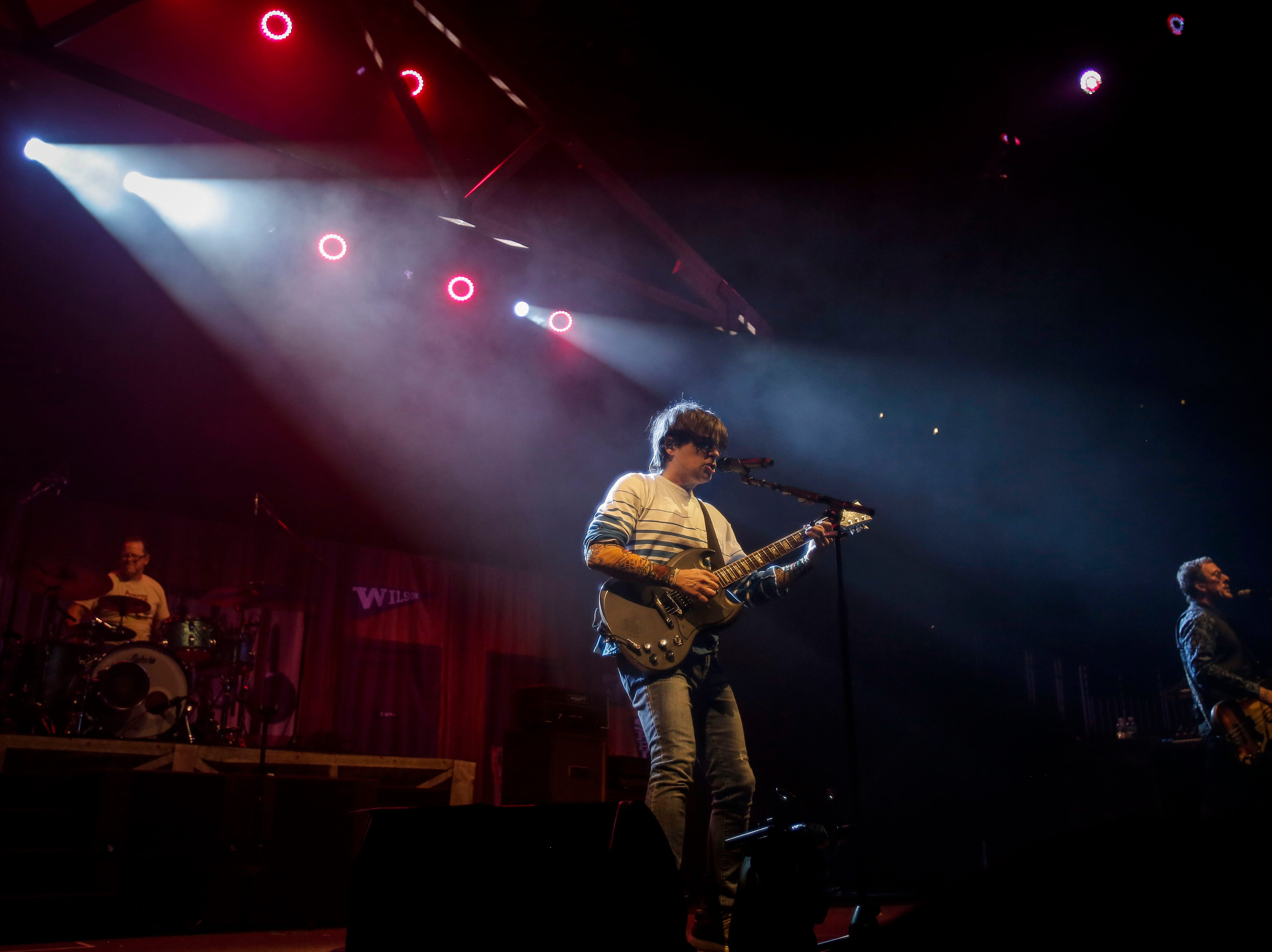 Weezer performs during the first show of the Weezer x Pixies 2019 tour at the KFC Yum! Center in downtown Louisville, Ky. on Friday, March 8, 2019.