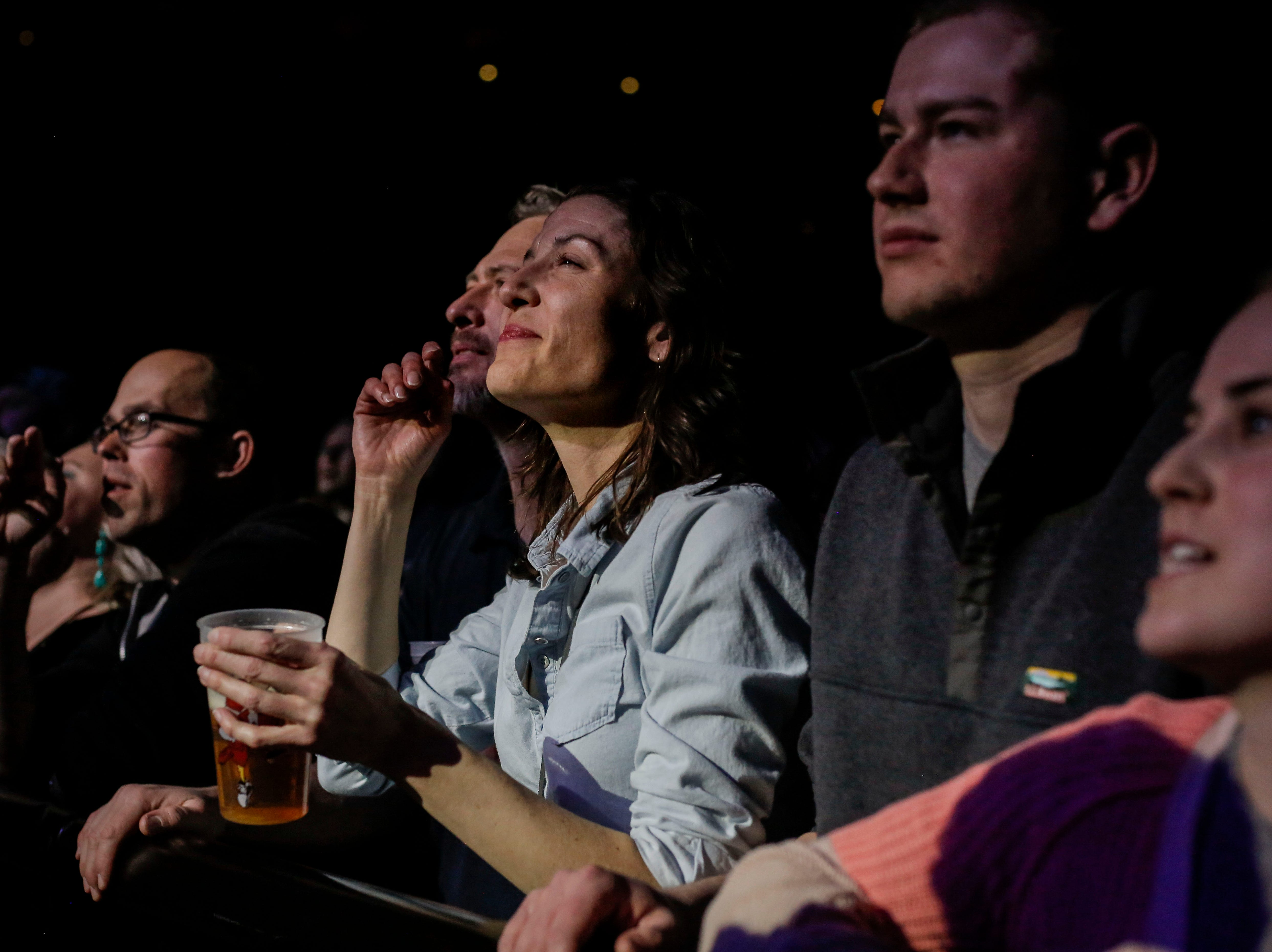 Fans listen to Weezer perform during the first show of the Weezer x Pixies 2019 tour at the KFC Yum! Center in downtown Louisville, Ky. on Friday, March 8, 2019.