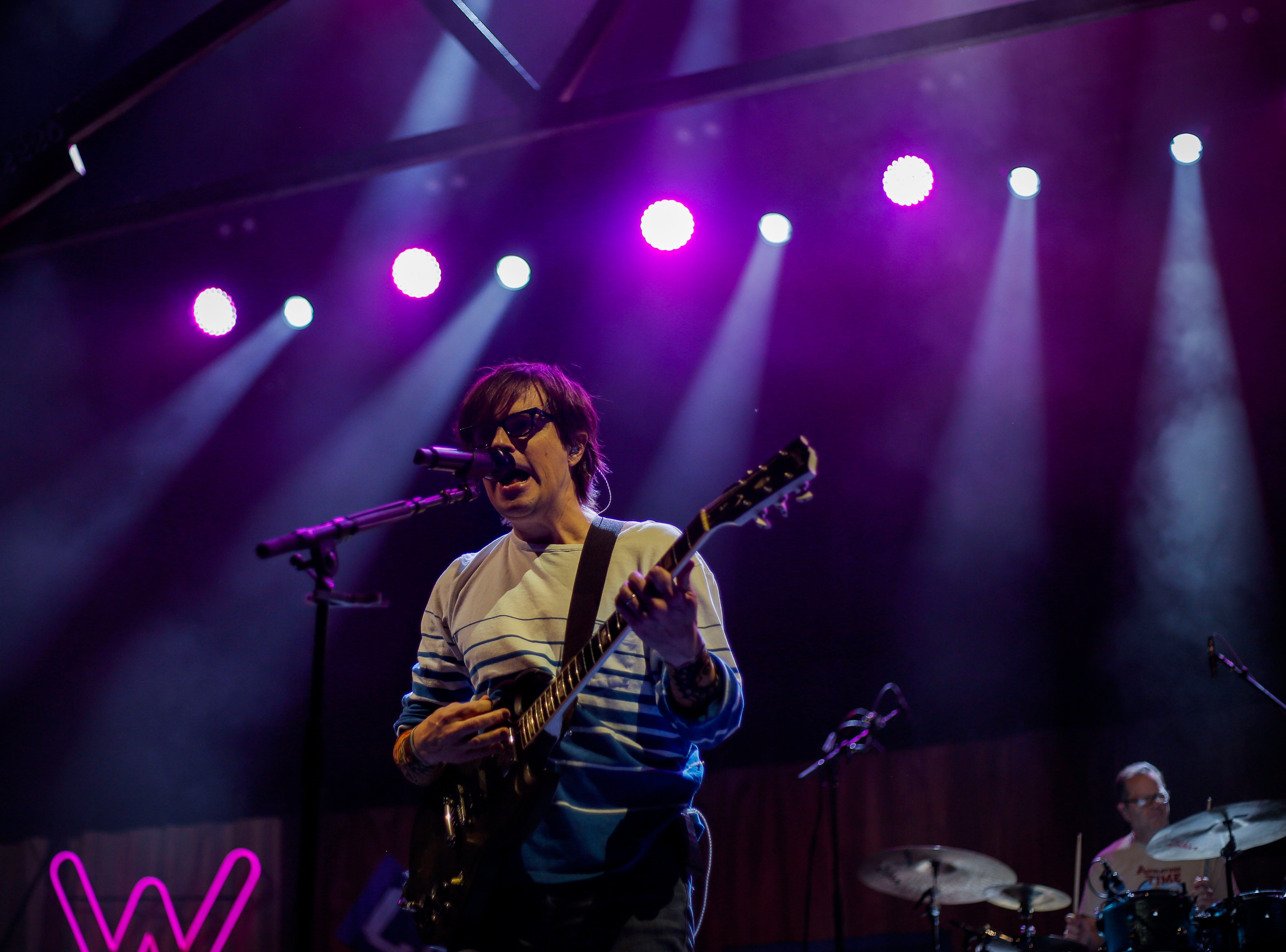 Rivers Cuomo, lead vocals and guitarist in Weezer, performs during the first show of the Weezer x Pixies 2019 tour at the KFC Yum! Center in downtown Louisville, Ky. on Friday, March 8, 2019.