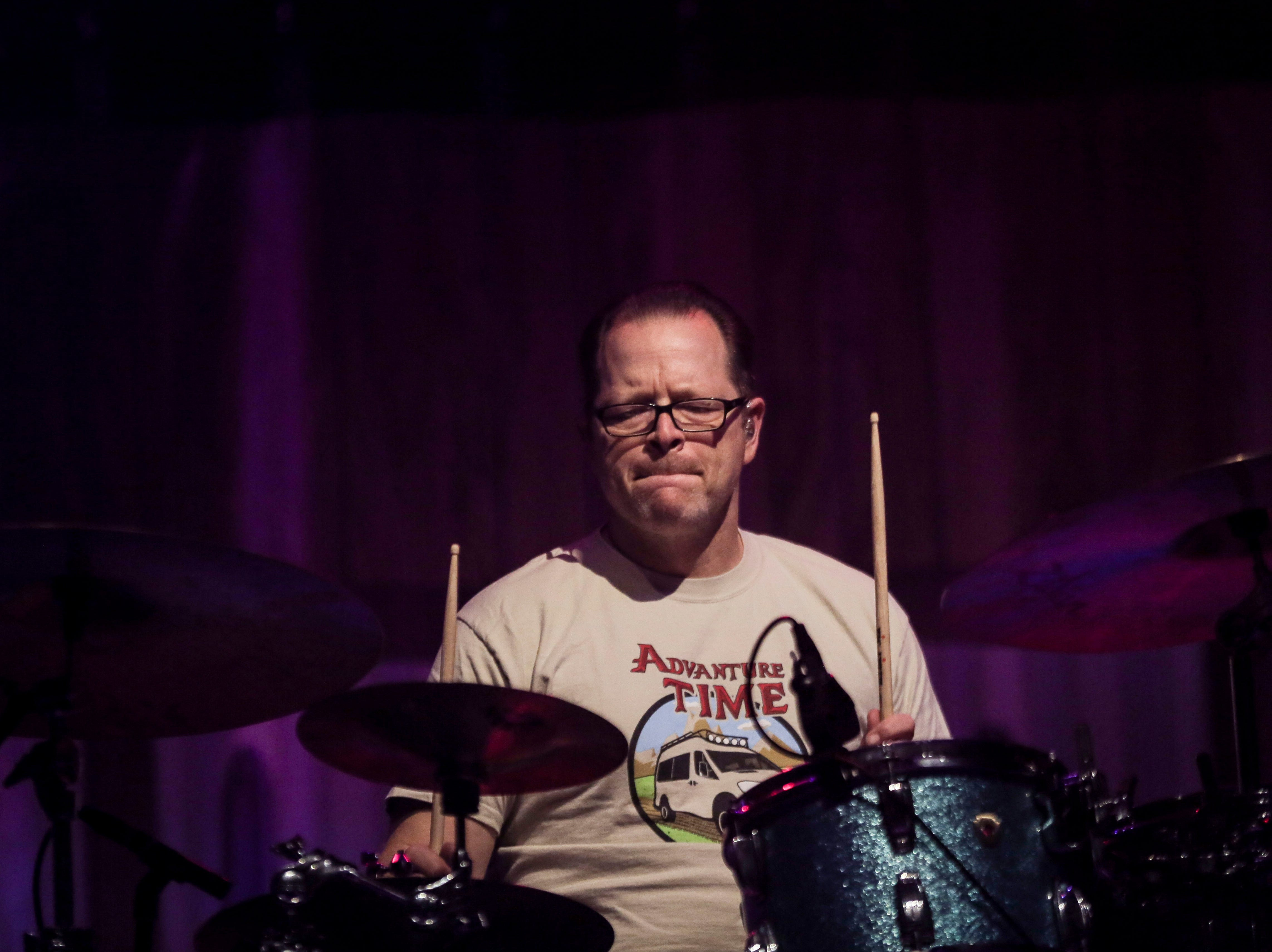 Patrick Wilson, drummer in Weezer, performs during the first show of the Weezer x Pixies 2019 tour at the KFC Yum! Center in downtown Louisville, Ky. on Friday, March 8, 2019.