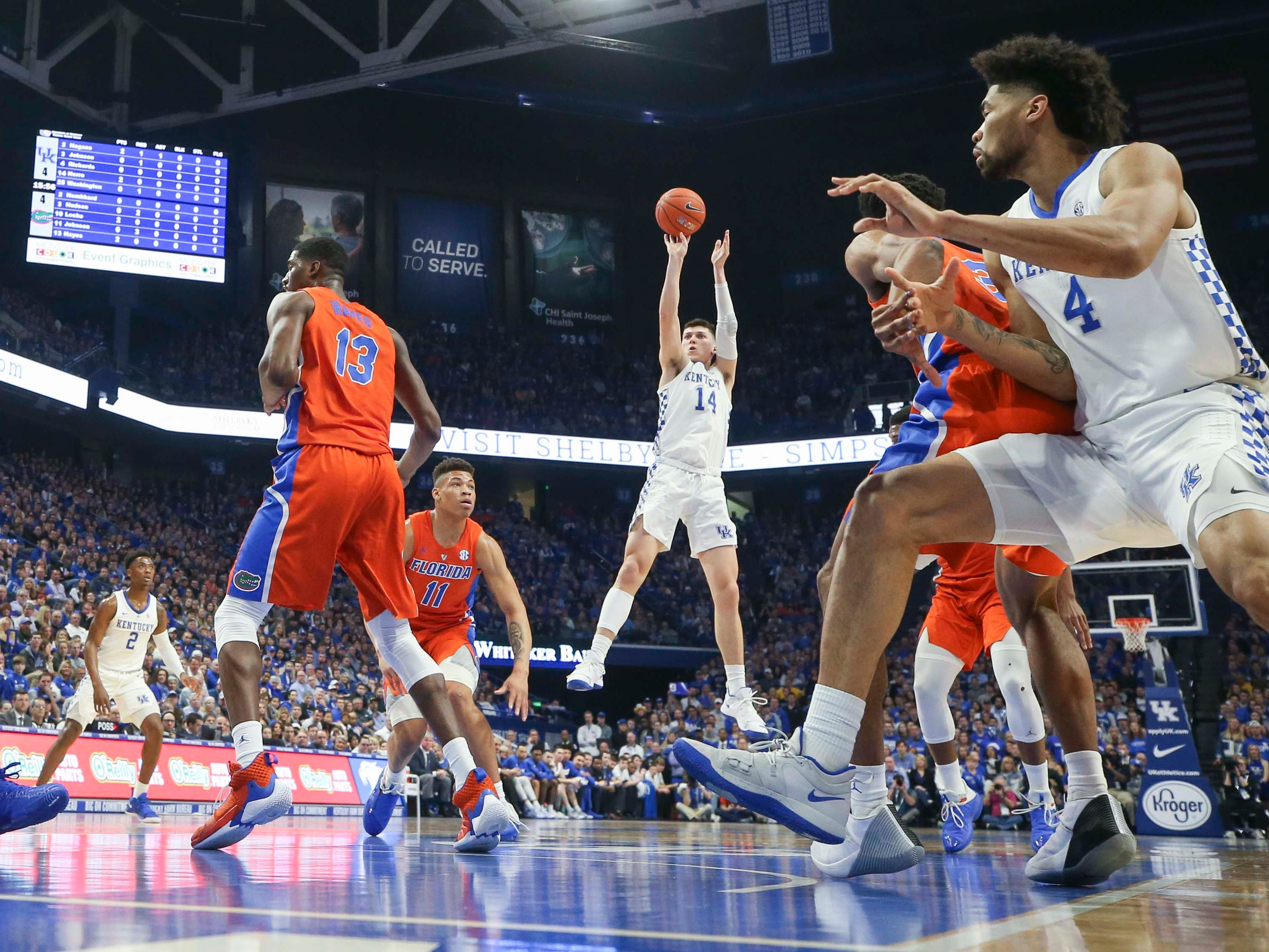 Kentucky's Tyler Herro scored 16 points with six rebounds against Florida. Wildcats won, 66-57.  March 9, 2019