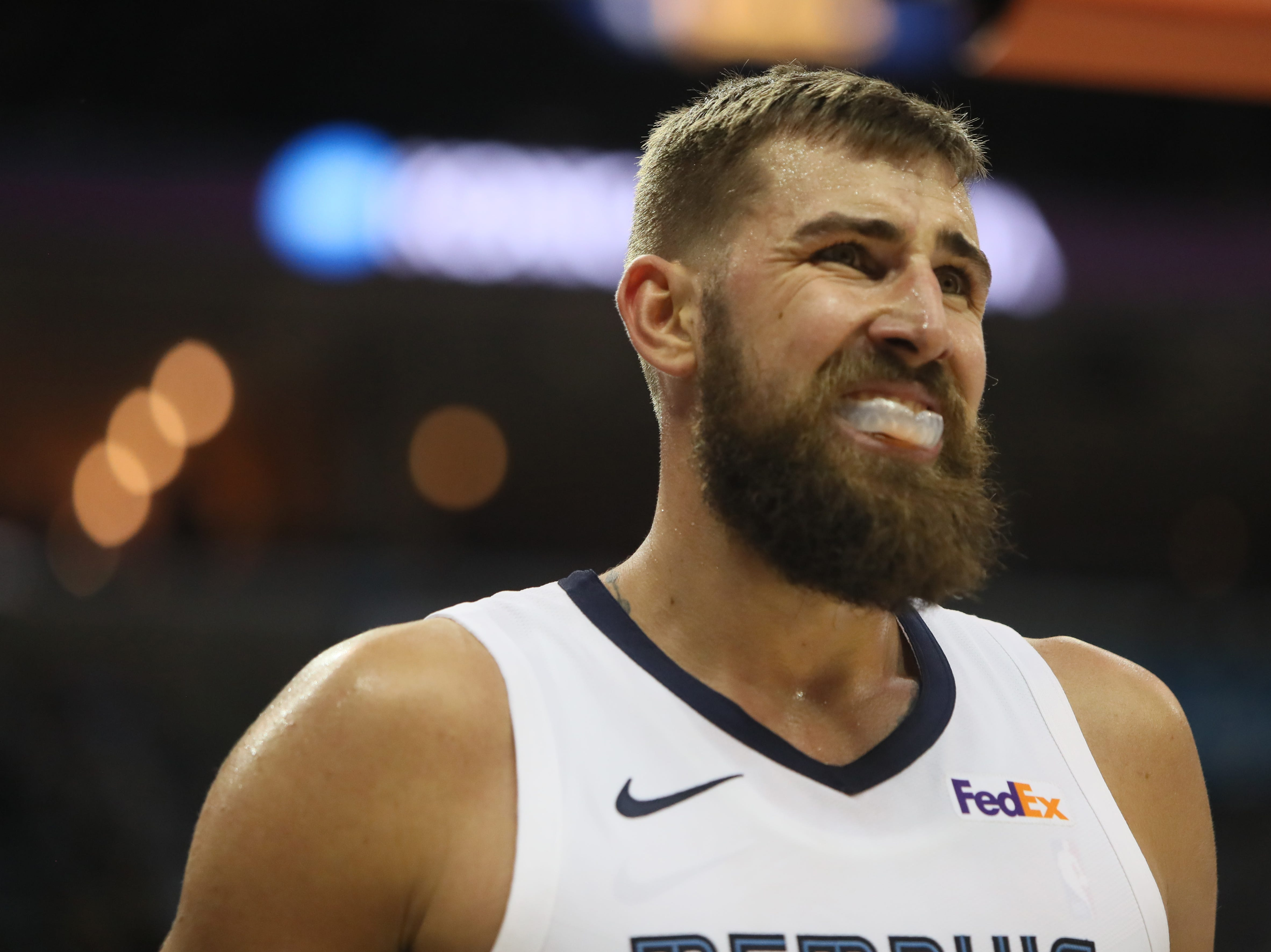 Memphis Grizzlies center Jonas Valanciunas grimaces after not getting a foul call against the Utah Jazz during their game at the FedExForum on Friday, March 8, 2019.