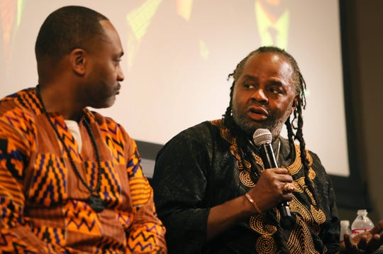 Karanja Ajanaku speaks during a discussion entitled Mastering our Cultural Identity during the Maximizing Manhood Symposium on Saturday.