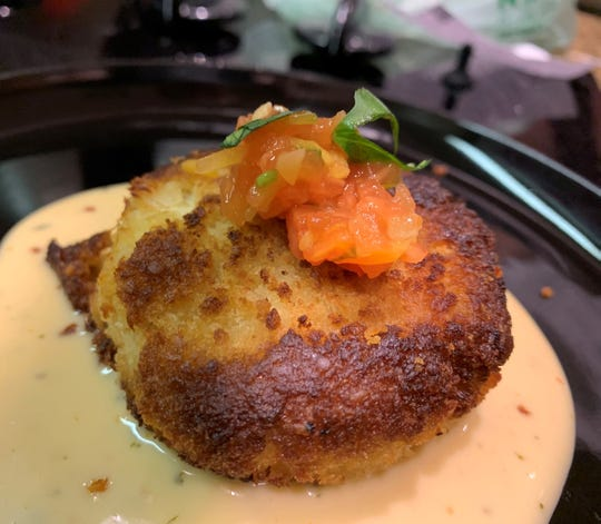 A crab cake from Chef Sebastian Mazzotta.