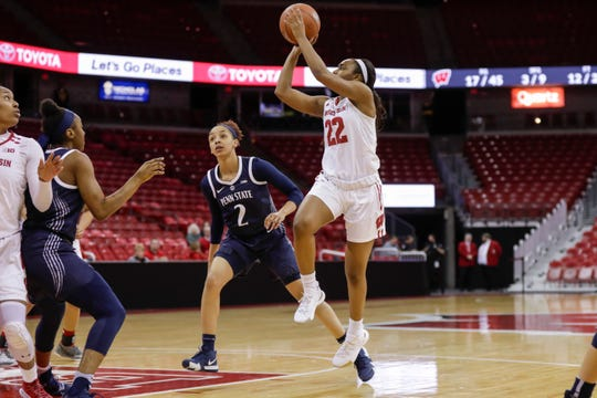 Wisconsin's Niya Beverley (shown in an earlier game) led the Badgers with 15 points on Friday.
