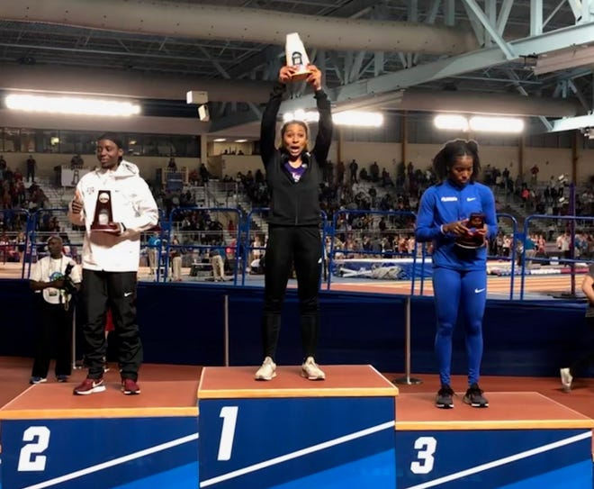 Northwestern State's Jasmyn Steels captured the long jump title at the NCAA indoor meet Friday.