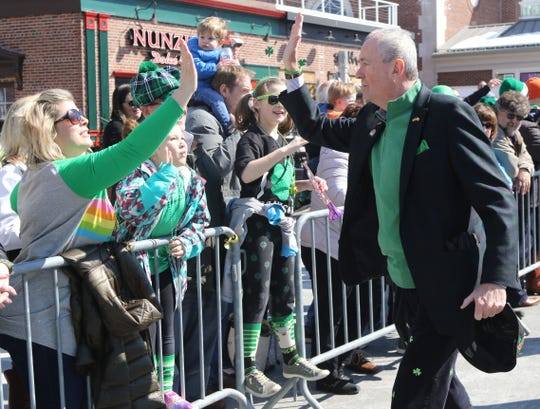 Governor Phil Murphy along the parade route on South St.