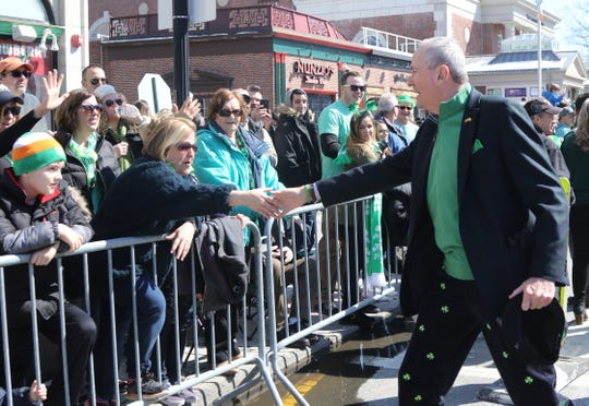 NJ Governor Phil Murphy walks the St. Patrick's day Parade route along South St.