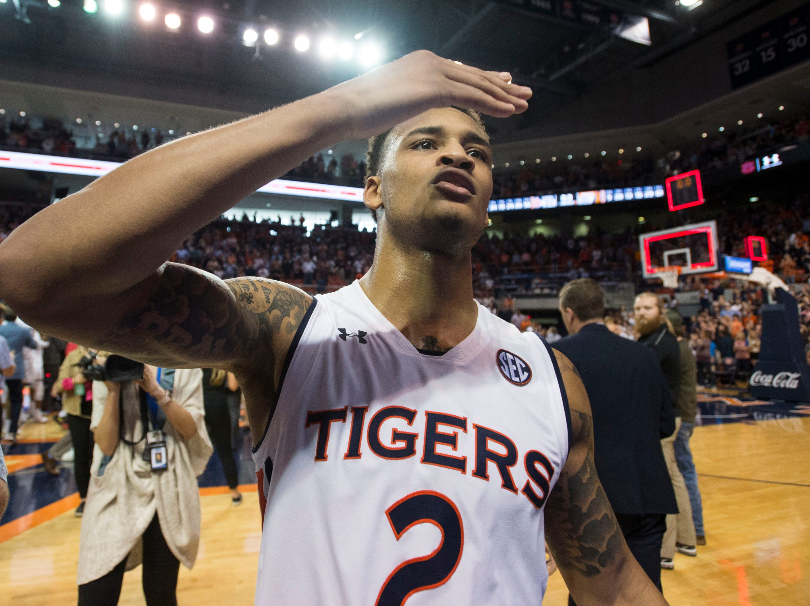 Auburn guard Bryce Brown (2) blows a kiss to the crowd after the game at Auburn Arena in Auburn, Ala., on Saturday, March 9, 2019. Auburn defeated Tennessee 84-80.