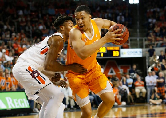 Mar 9, 2019; Auburn, AL, USA; Tennessee Volunteers forward Grant Williams (2) drives against Auburn Tigers forward Anfernee McLemore (24) during the first half at Auburn Arena. Mandatory Credit: John Reed-USA TODAY Sports