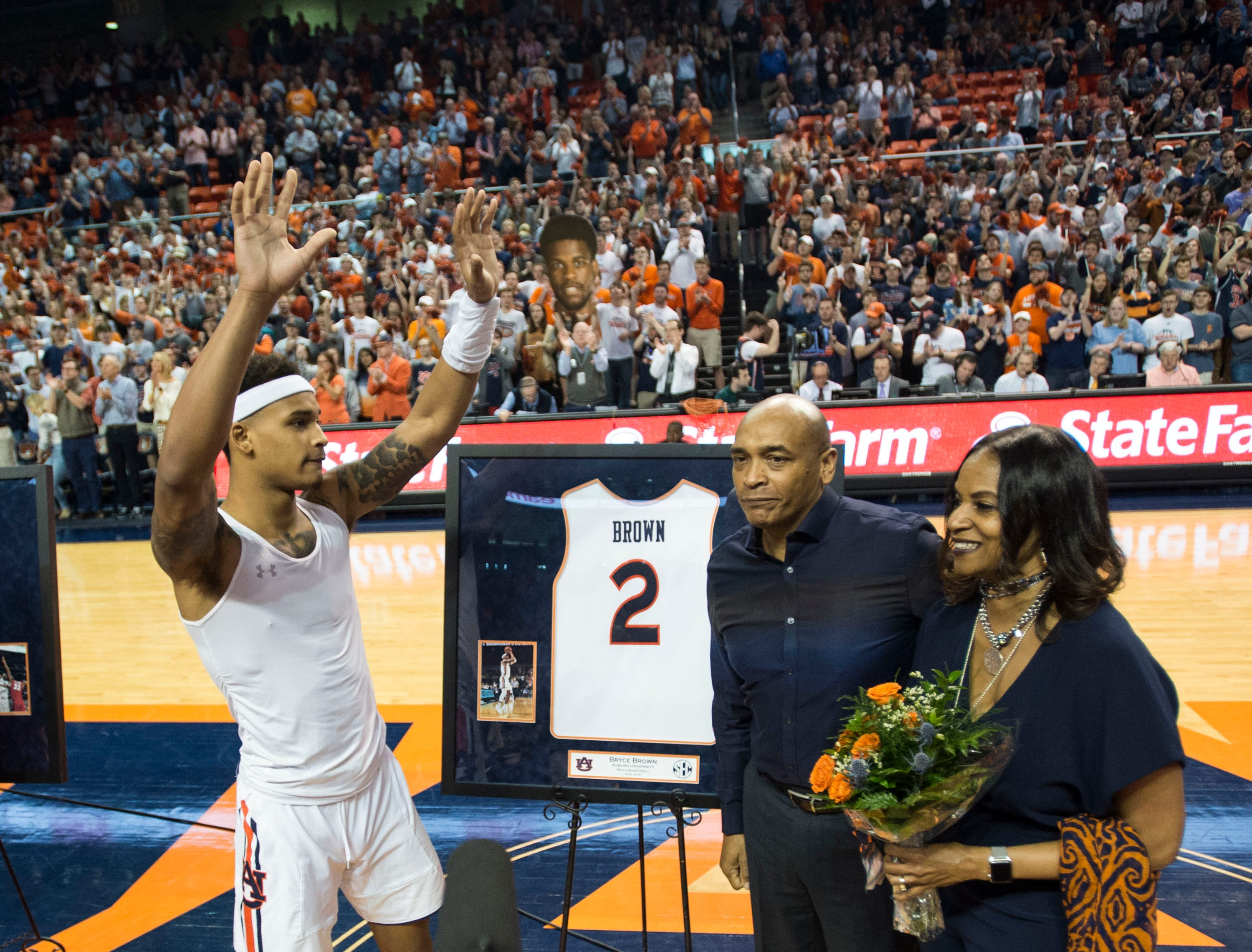 Auburn guard Bryce Brown (2) acknowledges the crowd during a senior day celebration at Auburn Arena in Auburn, Ala., on Saturday, March 9, 2019. Tennessee leads Auburn 41-35 at halftime.