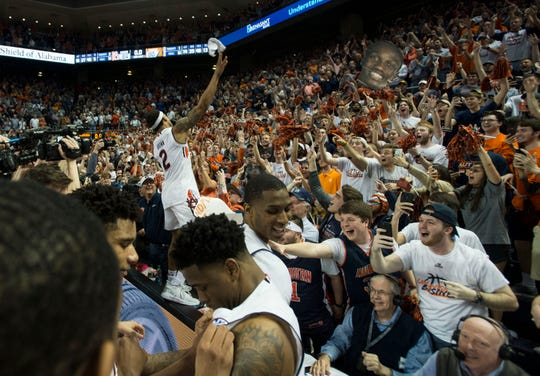 Auburn guard Bryce Brown (2) celebrates with the crowd after the game at Auburn Arena in Auburn, Ala., on Saturday, March 9, 2019. Auburn defeated Tennessee 84-80.
