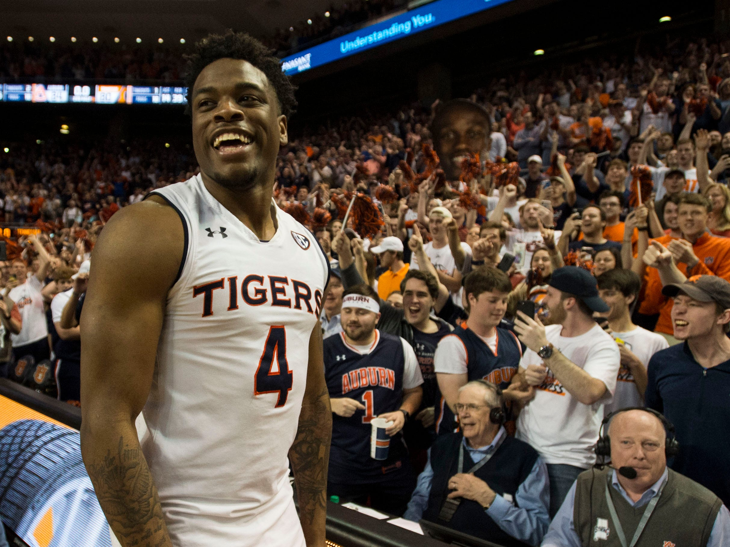 Auburn guard Malik Dunbar (4) celebrates with the crowd after the game at Auburn Arena in Auburn, Ala., on Saturday, March 9, 2019. Auburn defeated Tennessee 84-80.