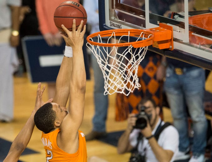 Tennessee forward Grant Williams (2) tips the ball in at Auburn Arena in Auburn, Ala., on Saturday, March 9, 2019. Auburn defeated Tennessee 84-80.
