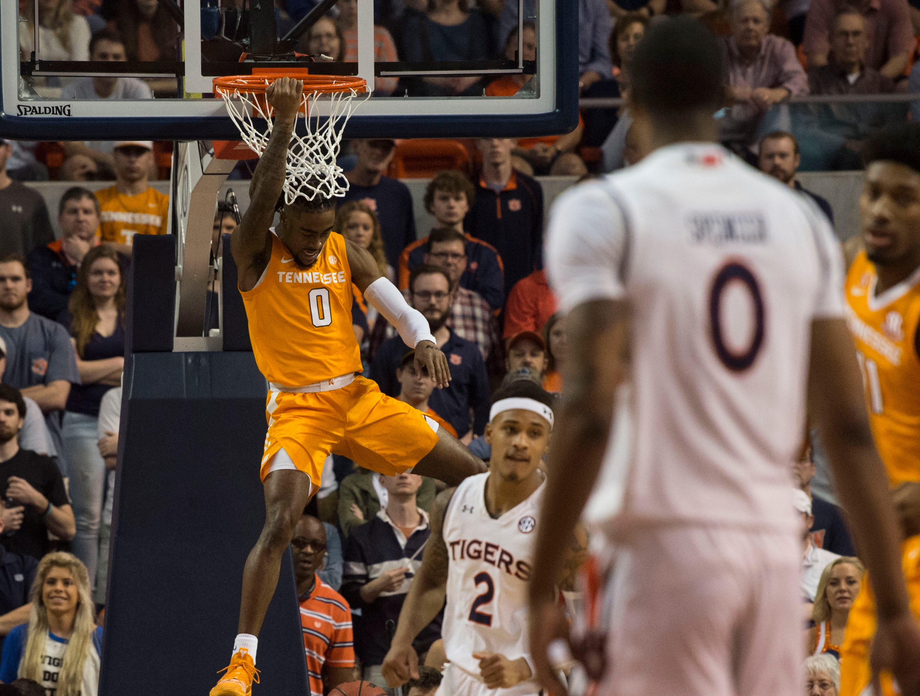 Tennessee guard Jordan Bone (0) dunks the ball on a fast break at Auburn Arena in Auburn, Ala., on Saturday, March 9, 2019. Tennessee leads Auburn 41-35 at halftime.