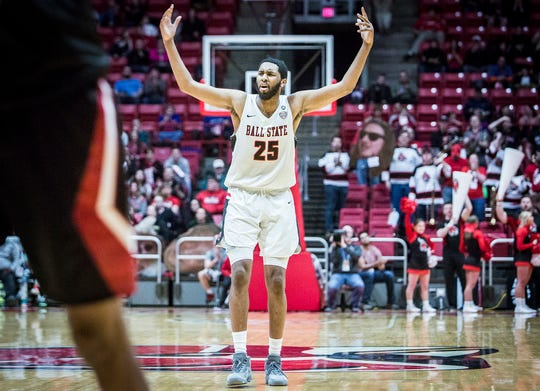 Ball State's Tahjai Teague reacts to a play against Northern Illinois during their game at Worthen Arena Friday, March 8, 2019.